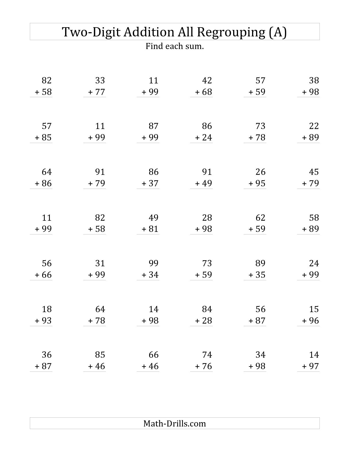 14 Best Images Of 2 Digit Addition Without Regrouping