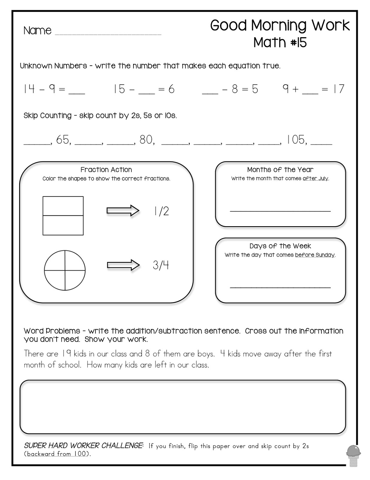 13 Best Images Of Morning Work Worksheets For Kindergarten