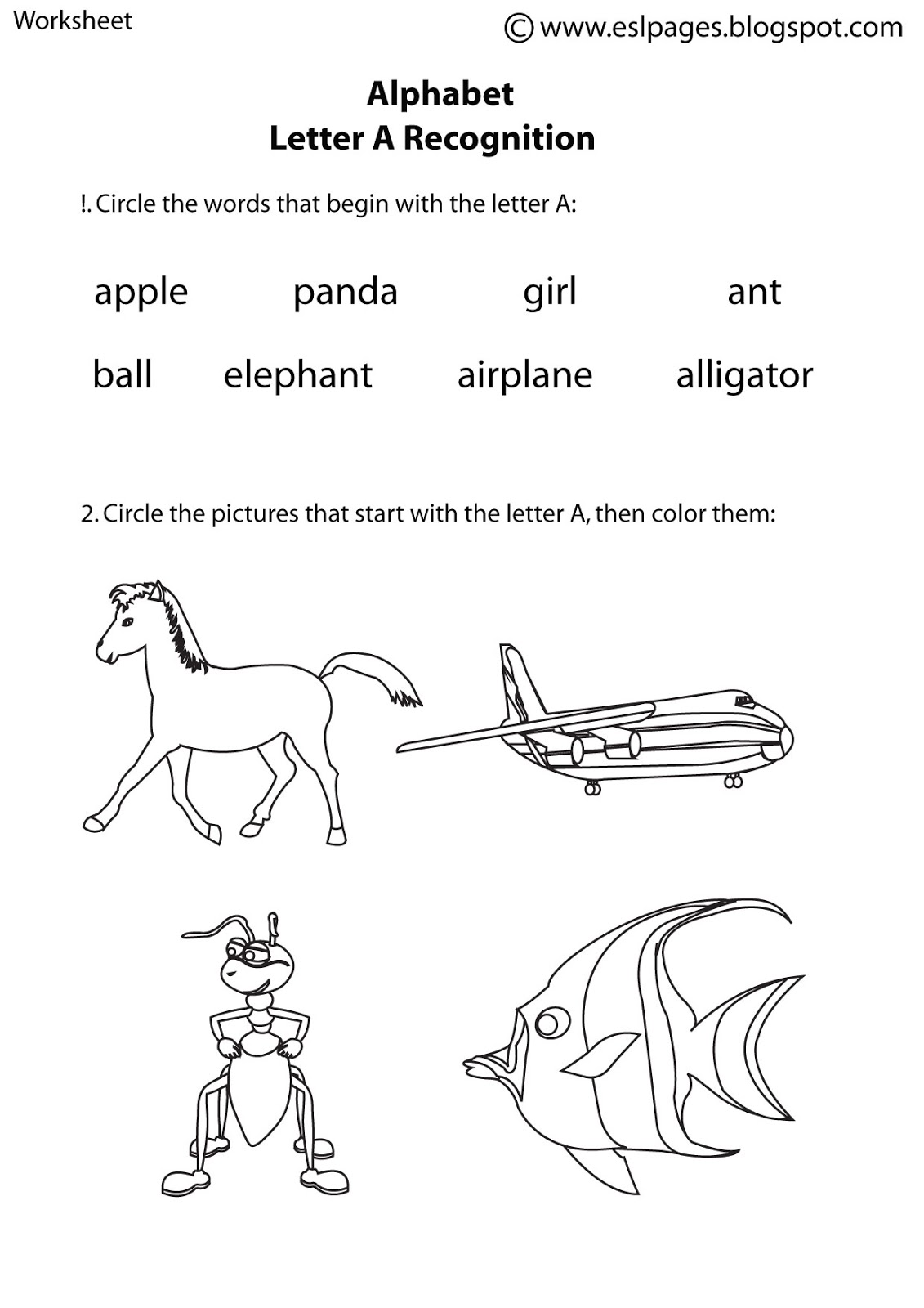 Alphabet Recognition Worksheets
