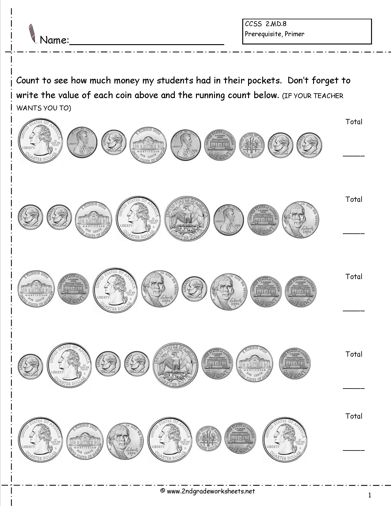 Touchpoint Coins Worksheet
