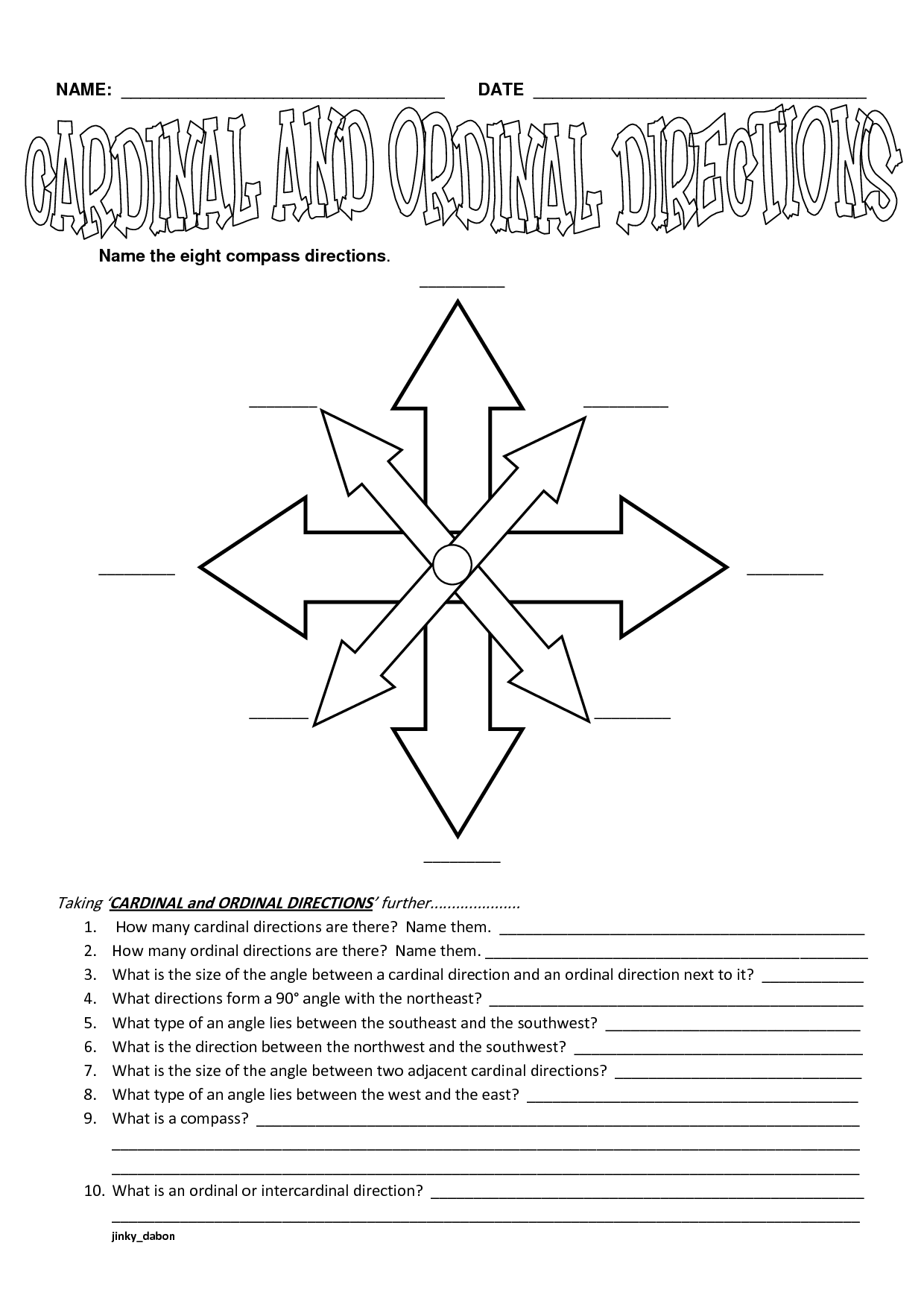 Position Worksheet Year 3