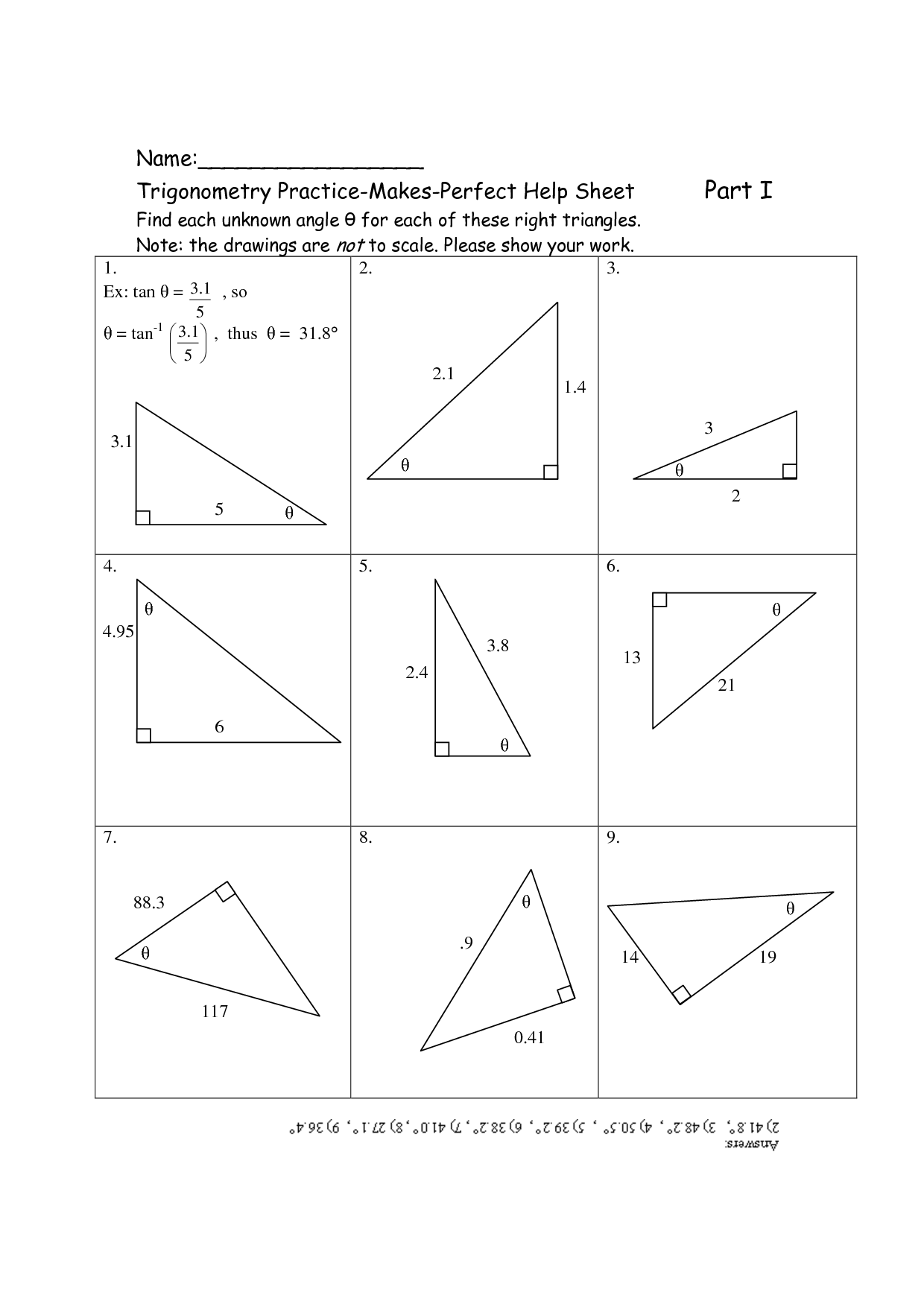 Right Triangle Trig Worksheet Homeschooldressage