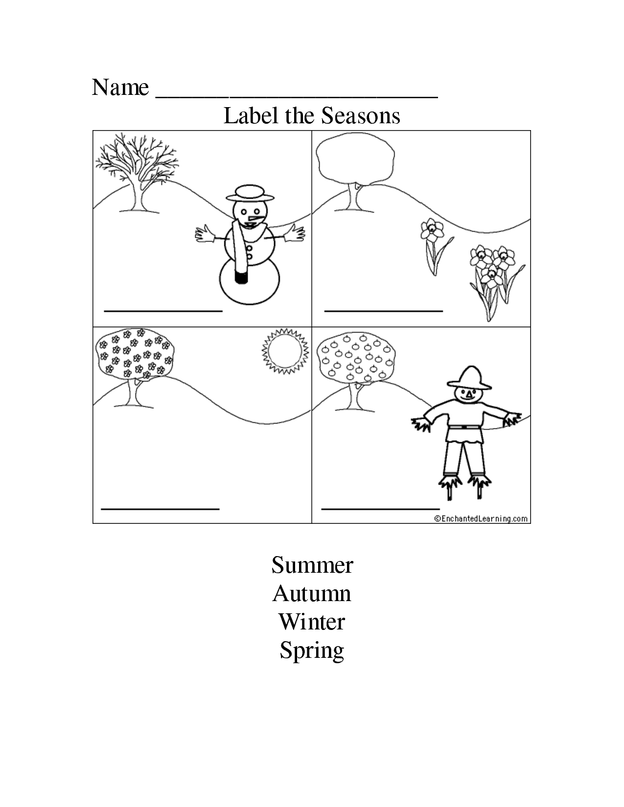 9 Best Images Of Label The Season Worksheet