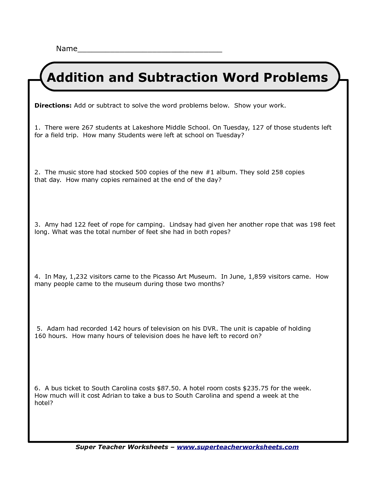 Search Results For Word Problems Worksheets 4th Grade