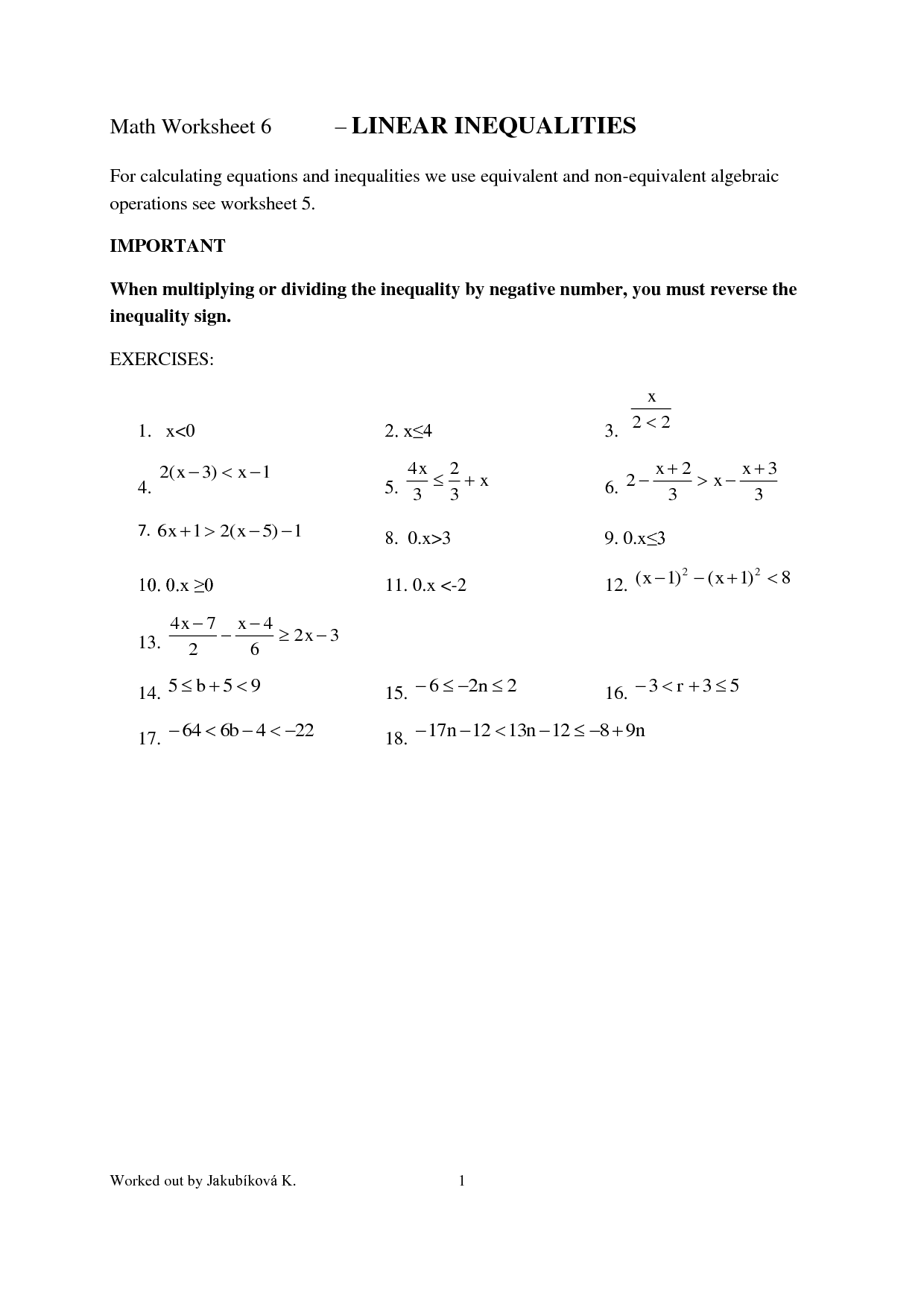 29 Inequalities Worksheet 8th Grade