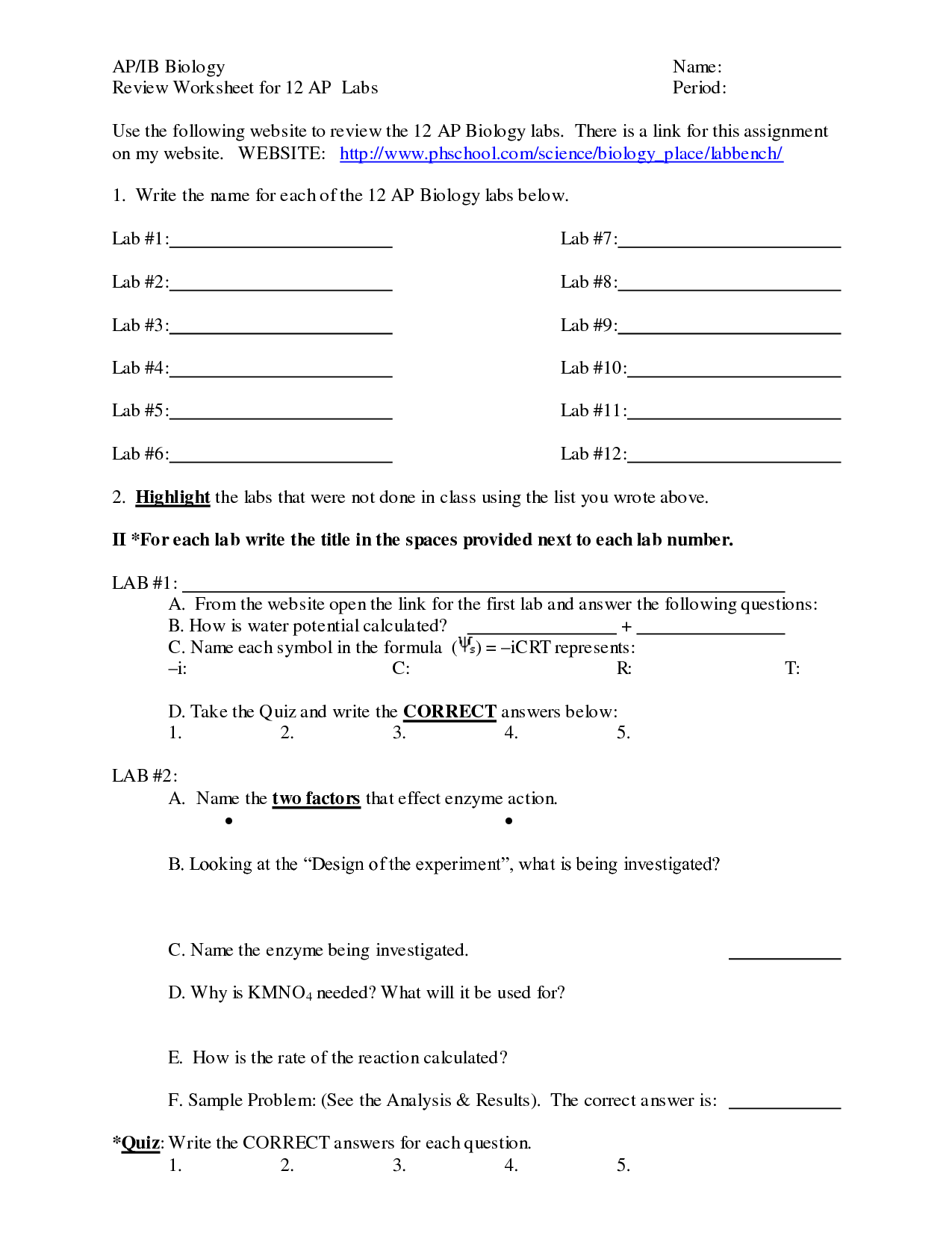 13 Best Images Of Biology Corner Worksheets Answer Key