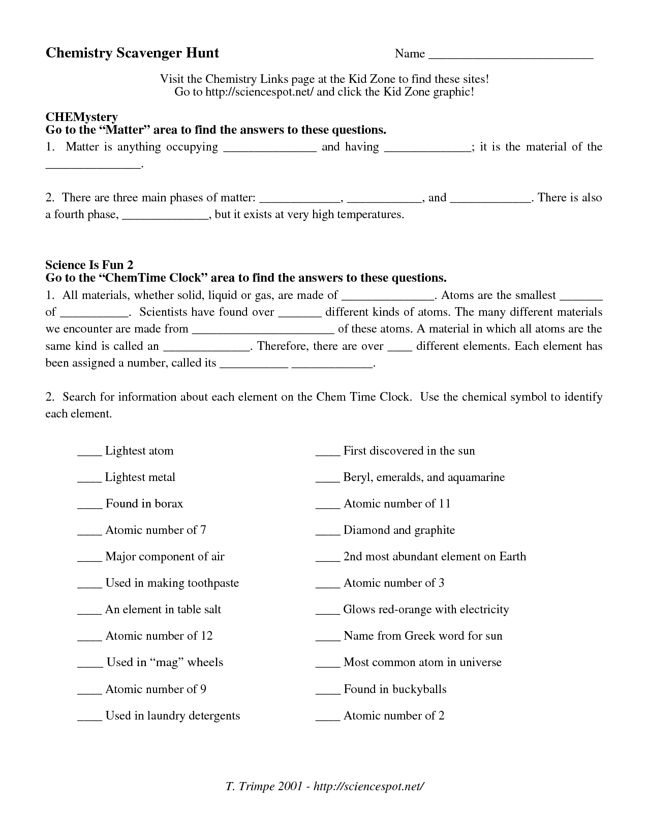 10 Best Images Of Chemistry Worksheet Matter 1 Answers