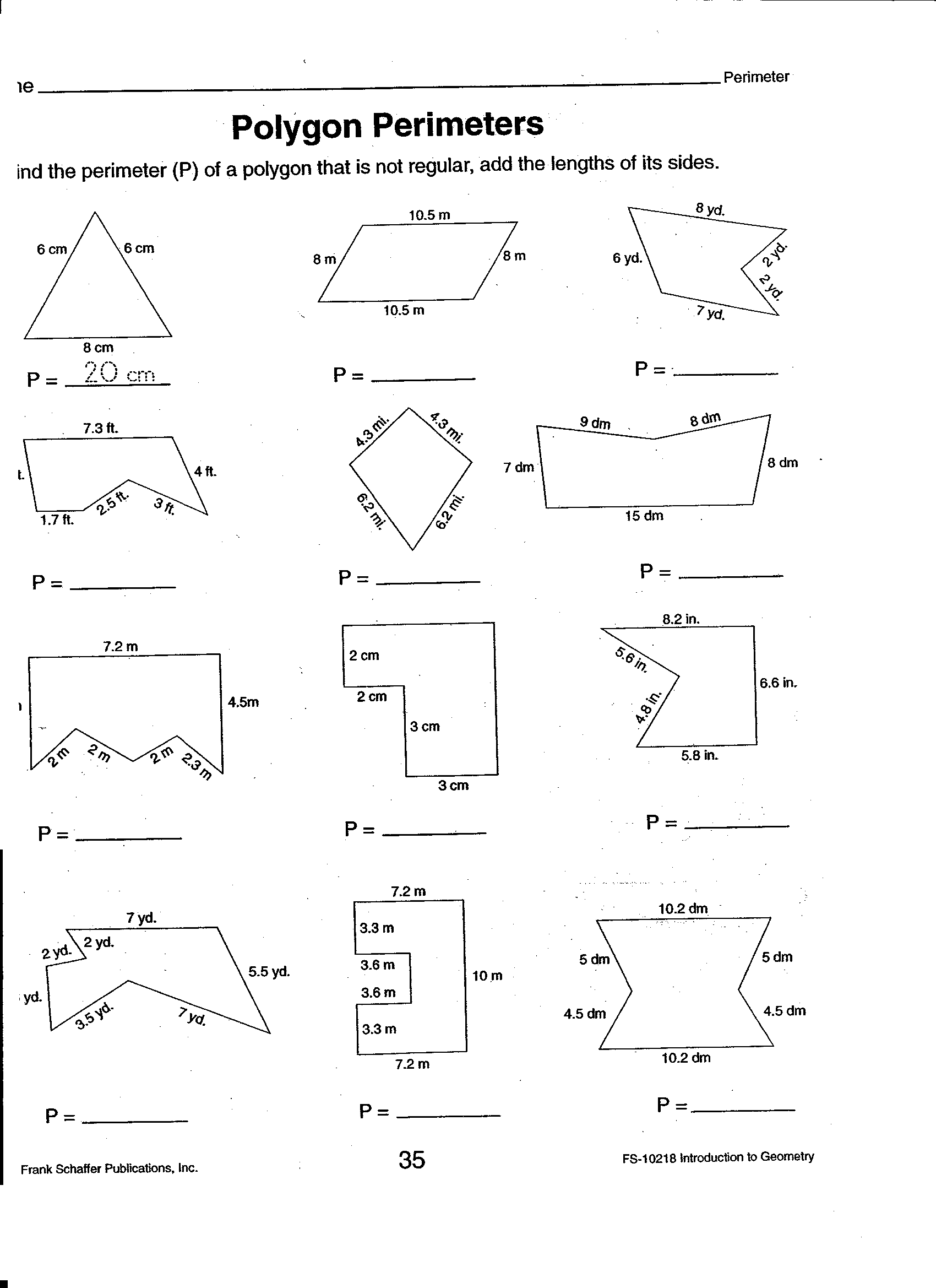 Dad S Worksheet Area And Perimeter