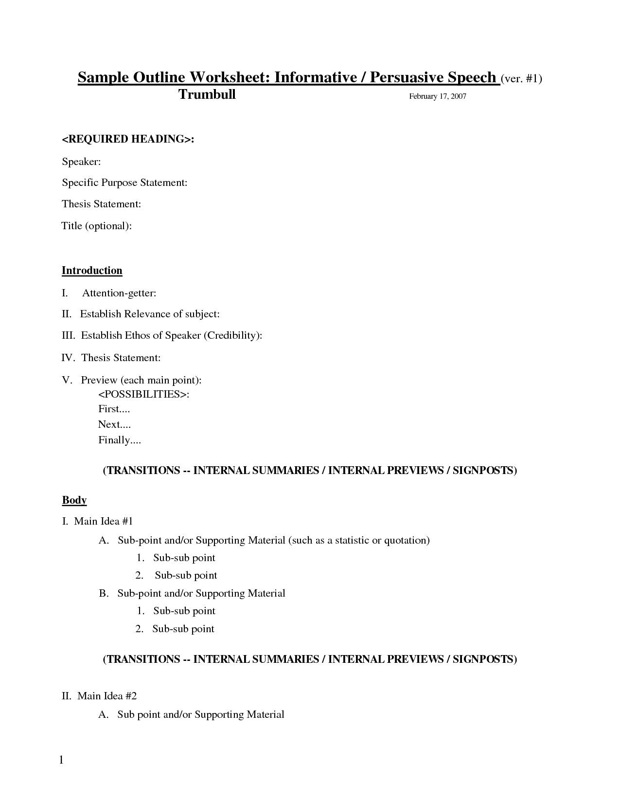 18 Best Images Of Sample Outline Worksheet