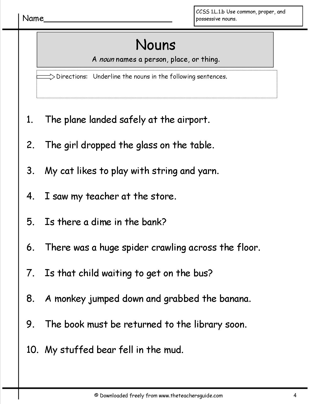 16 Best Images Of Noun Sort Worksheet