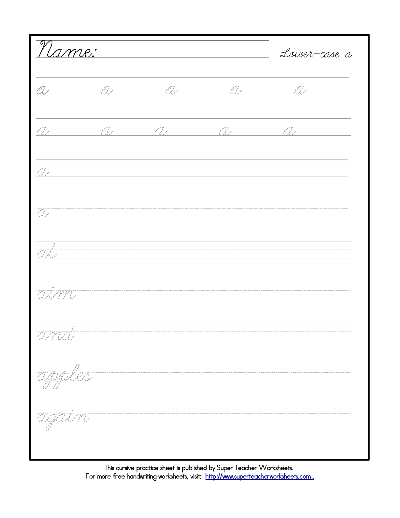 Worksheet For Teaching Cursive Handwriting