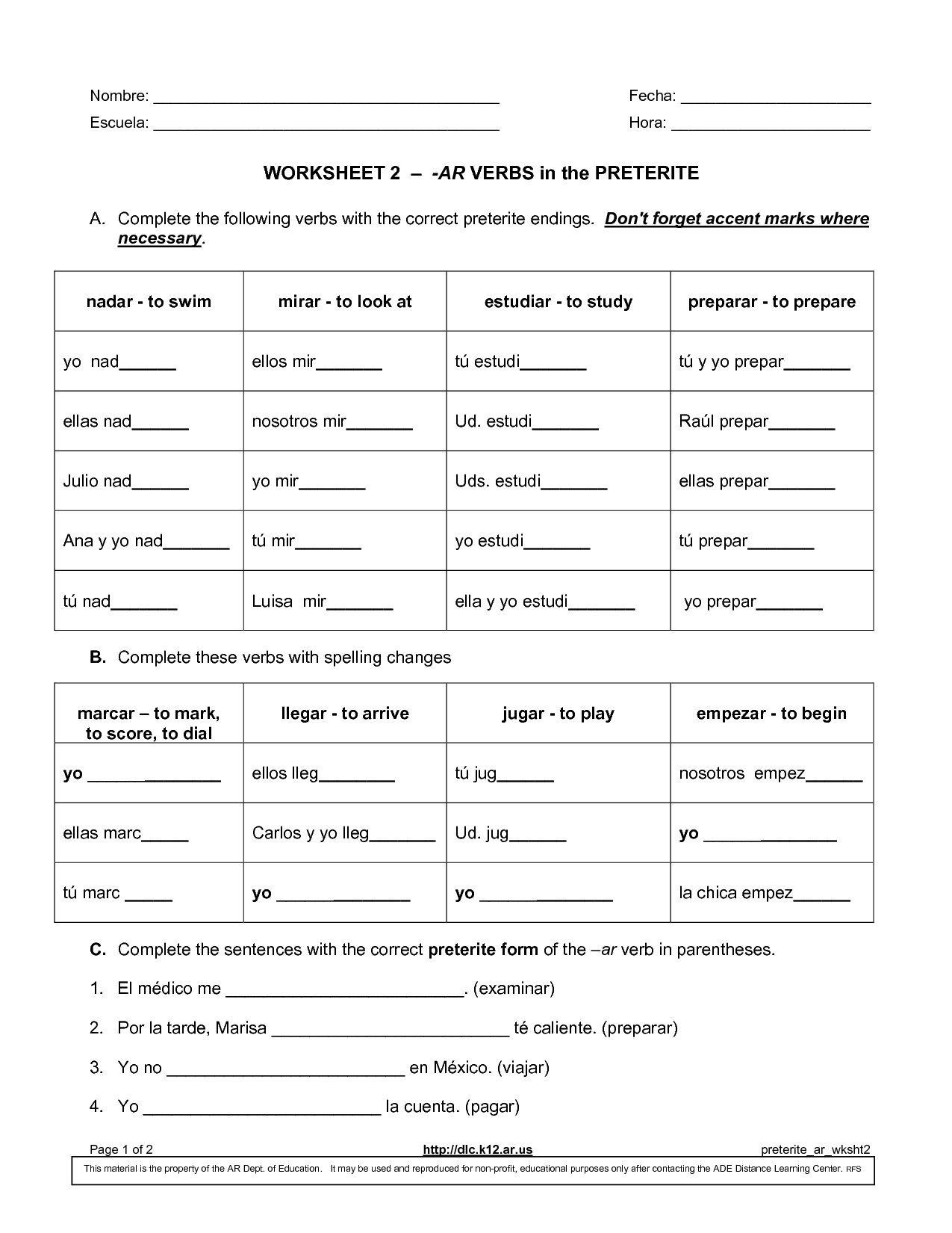 17 Best Images Of Spanish Irregular Verbs Printable Worksheets