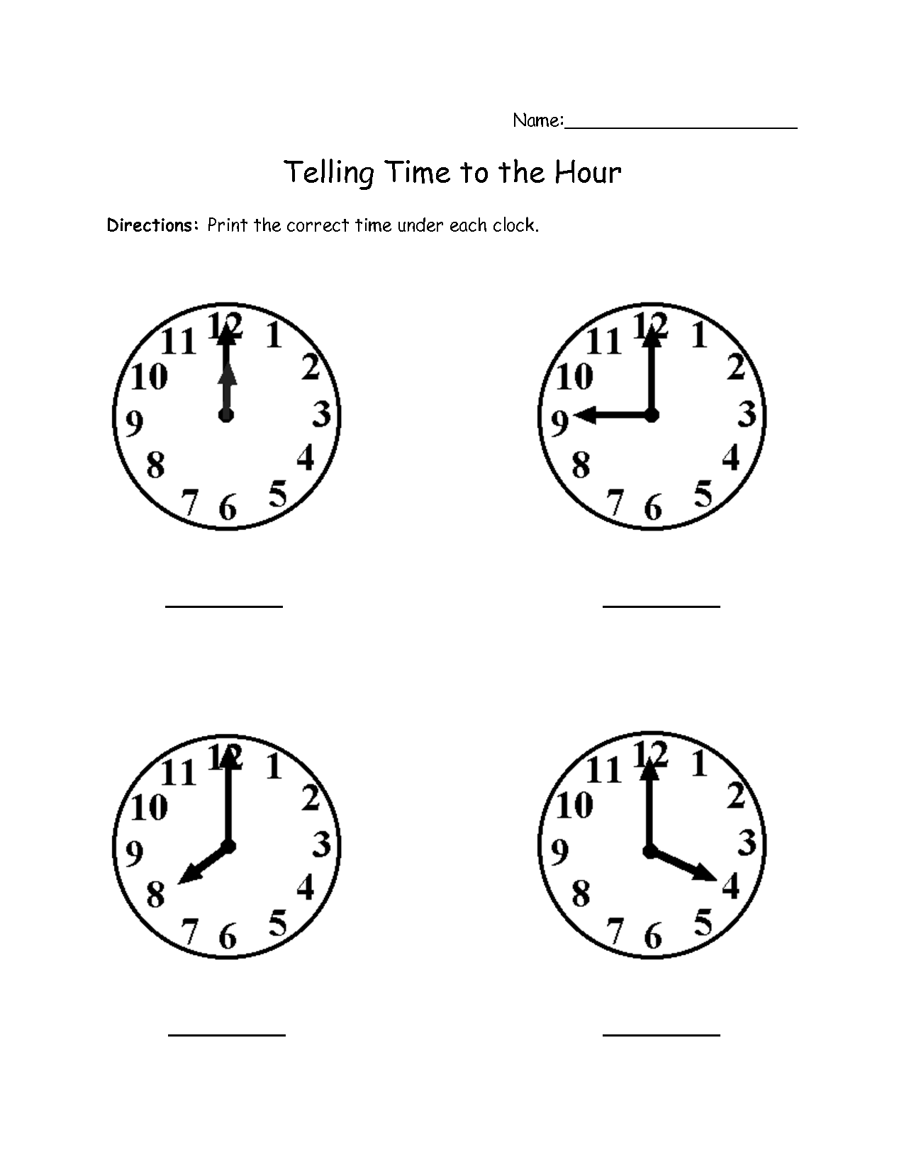18 Best Images Of Hourly Clock Worksheets