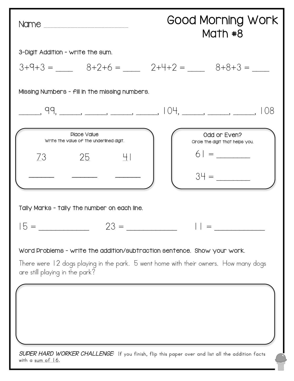Spelling Worksheet Morning Work
