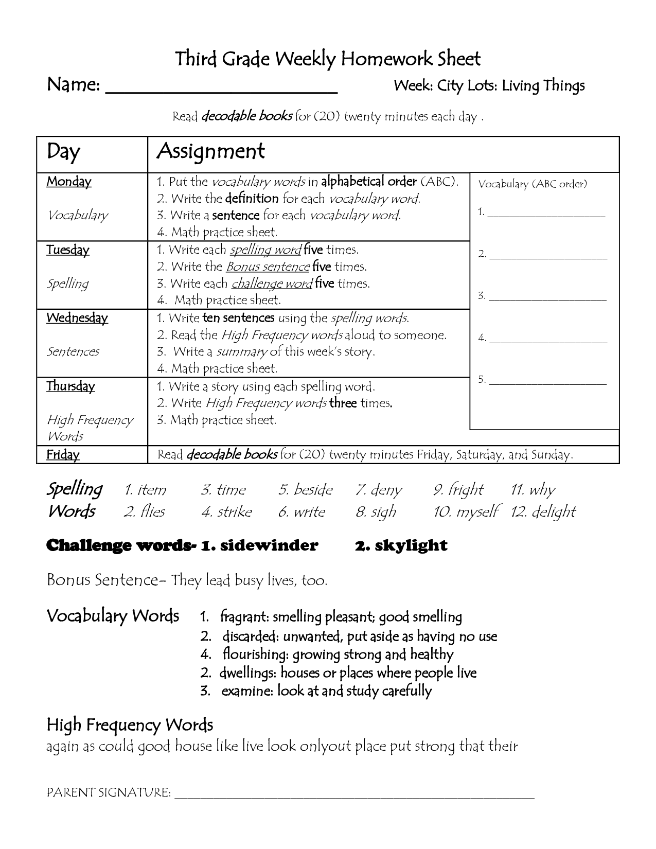 2nd Grade Homework Sheets