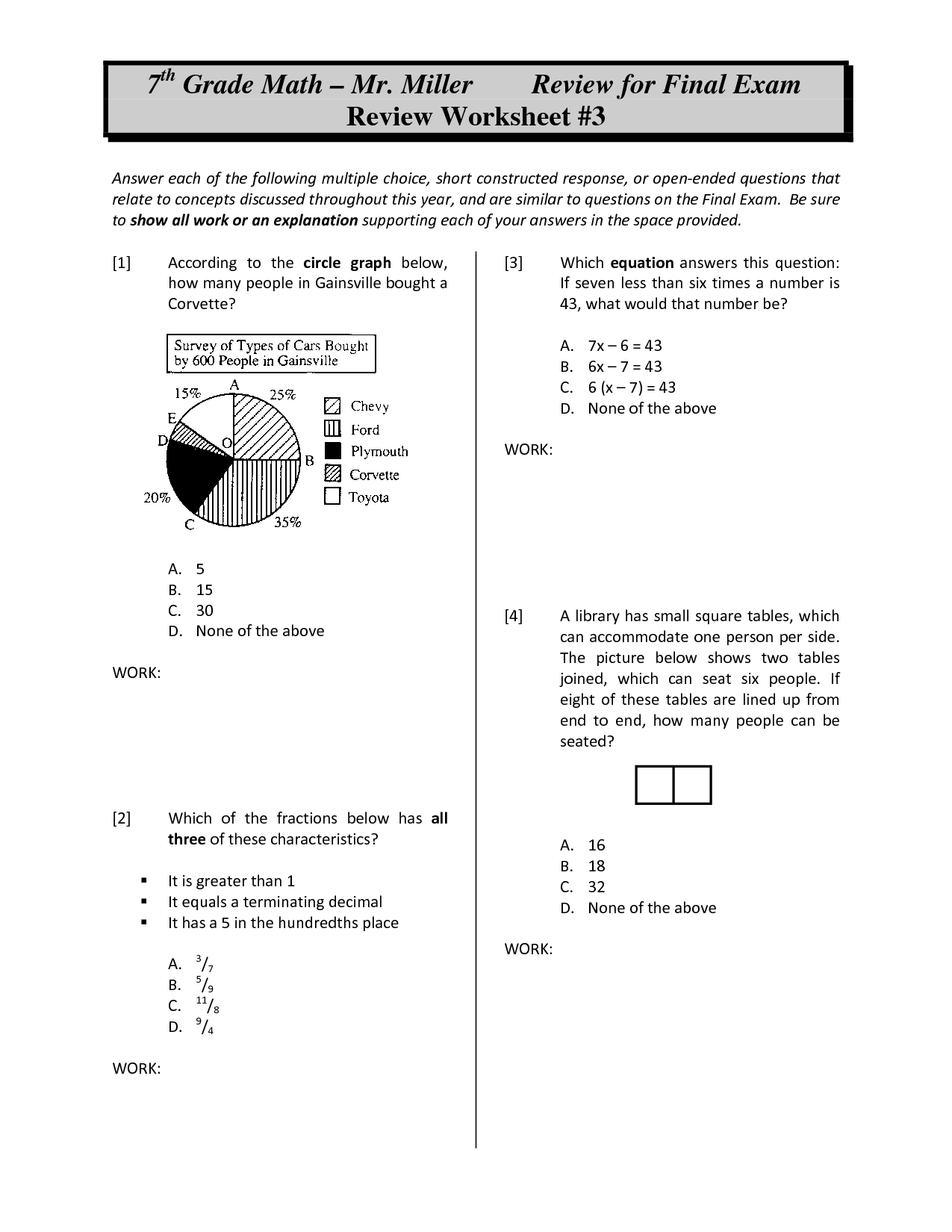 14 Best Images Of 6th Grade Math Worksheets Multiple