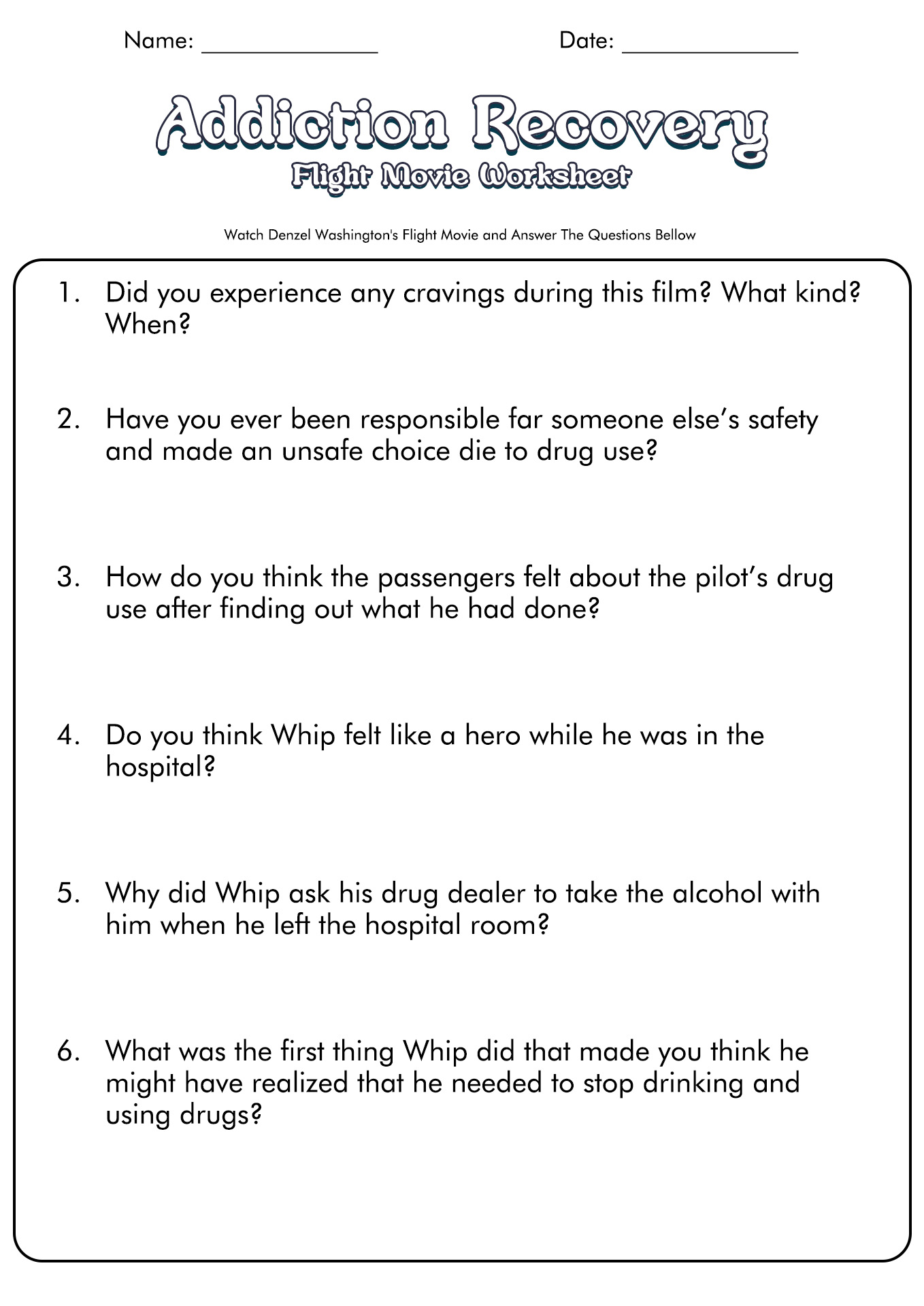 Dual Diagnosis Group Therapy Worksheet
