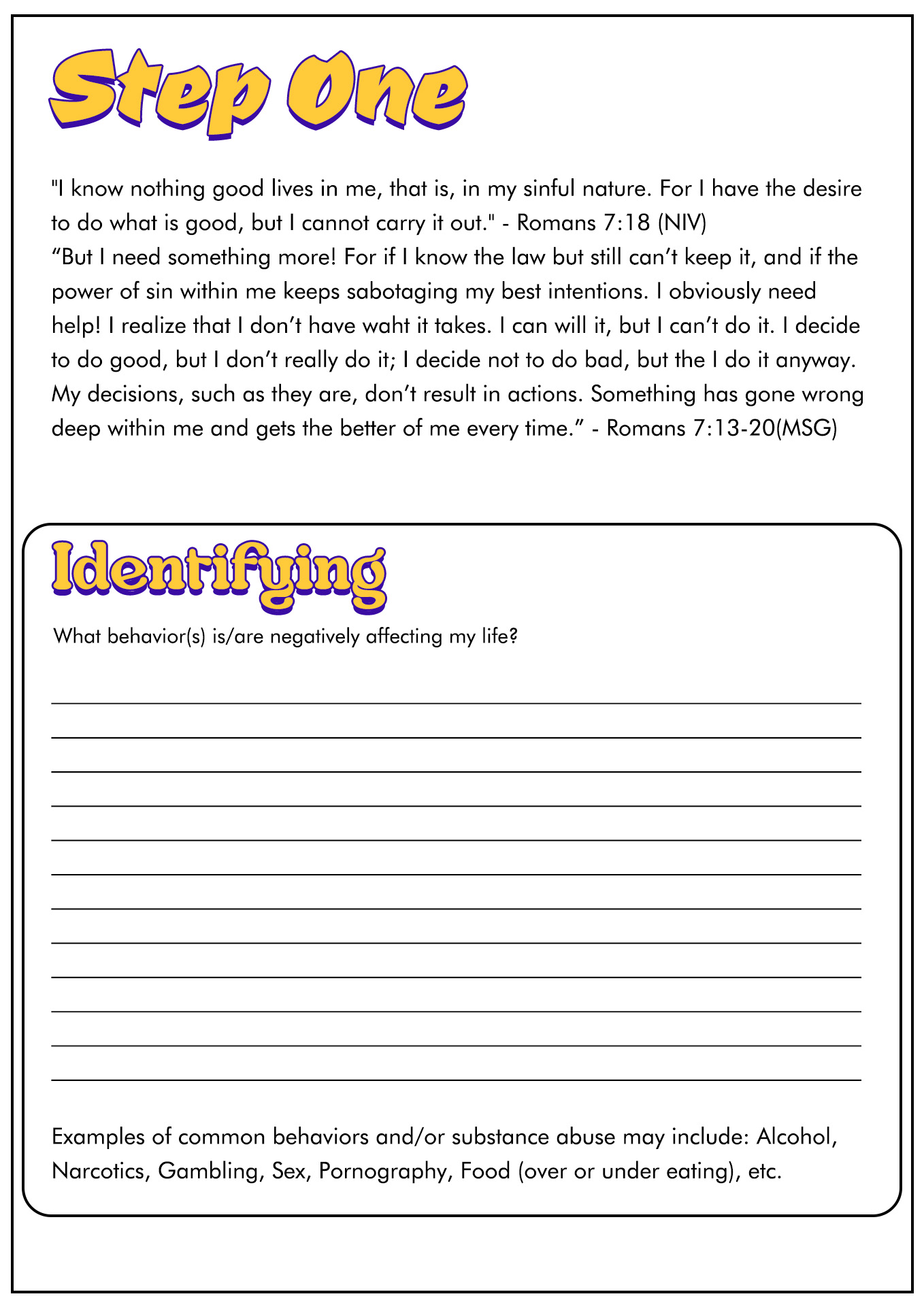 15 Best Images Of 12 Step Recovery Worksheets