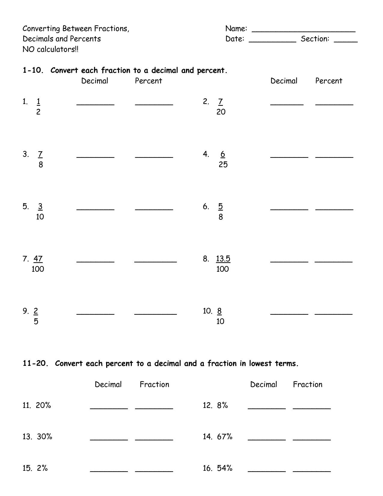 5th Grade Percent Worksheet