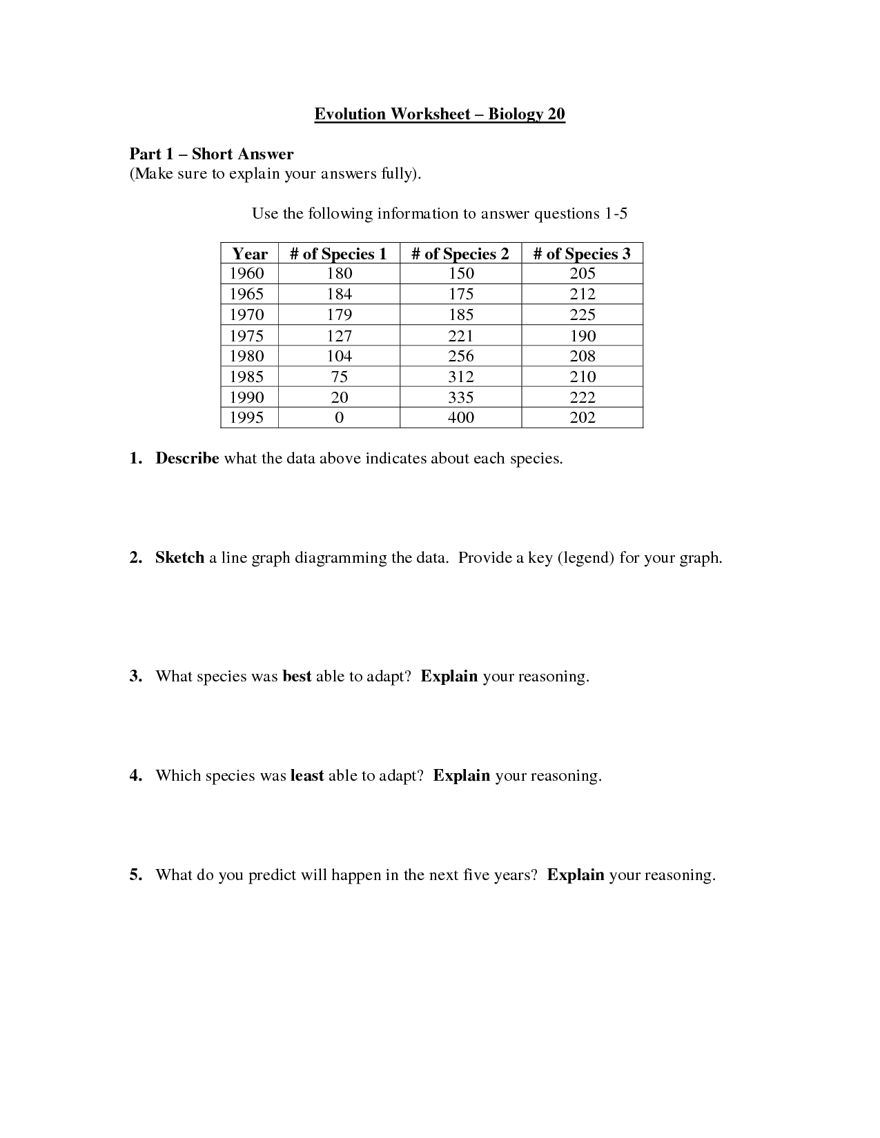 Natural Selection And Patterns Of Evolution Worksheet