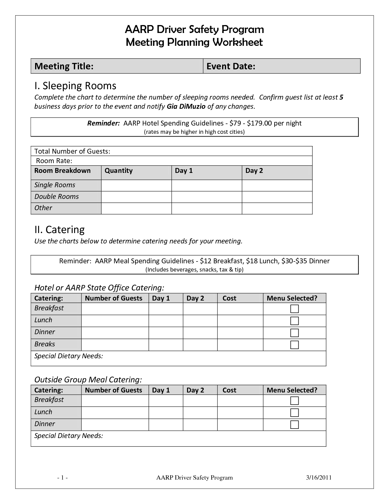 13 Best Images Of Catering Event Worksheet Template