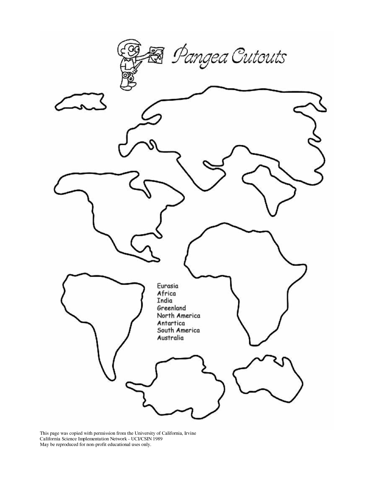 Continents Puzzle Worksheet