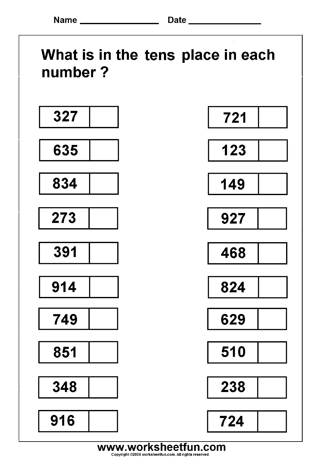14 Best Images Of Free Place Value Worksheets For First
