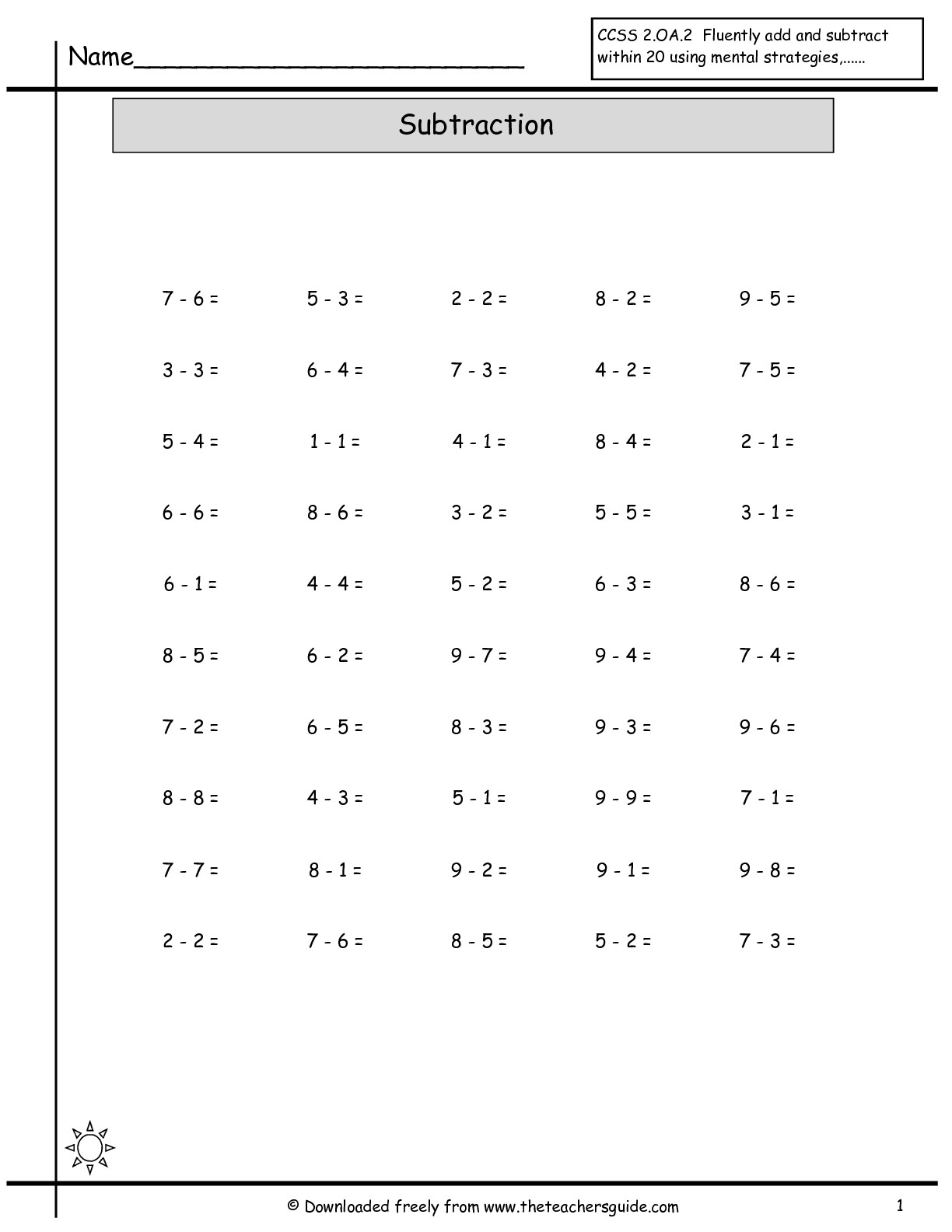 12 Best Images Of Worksheets Subtraction Fact Practice