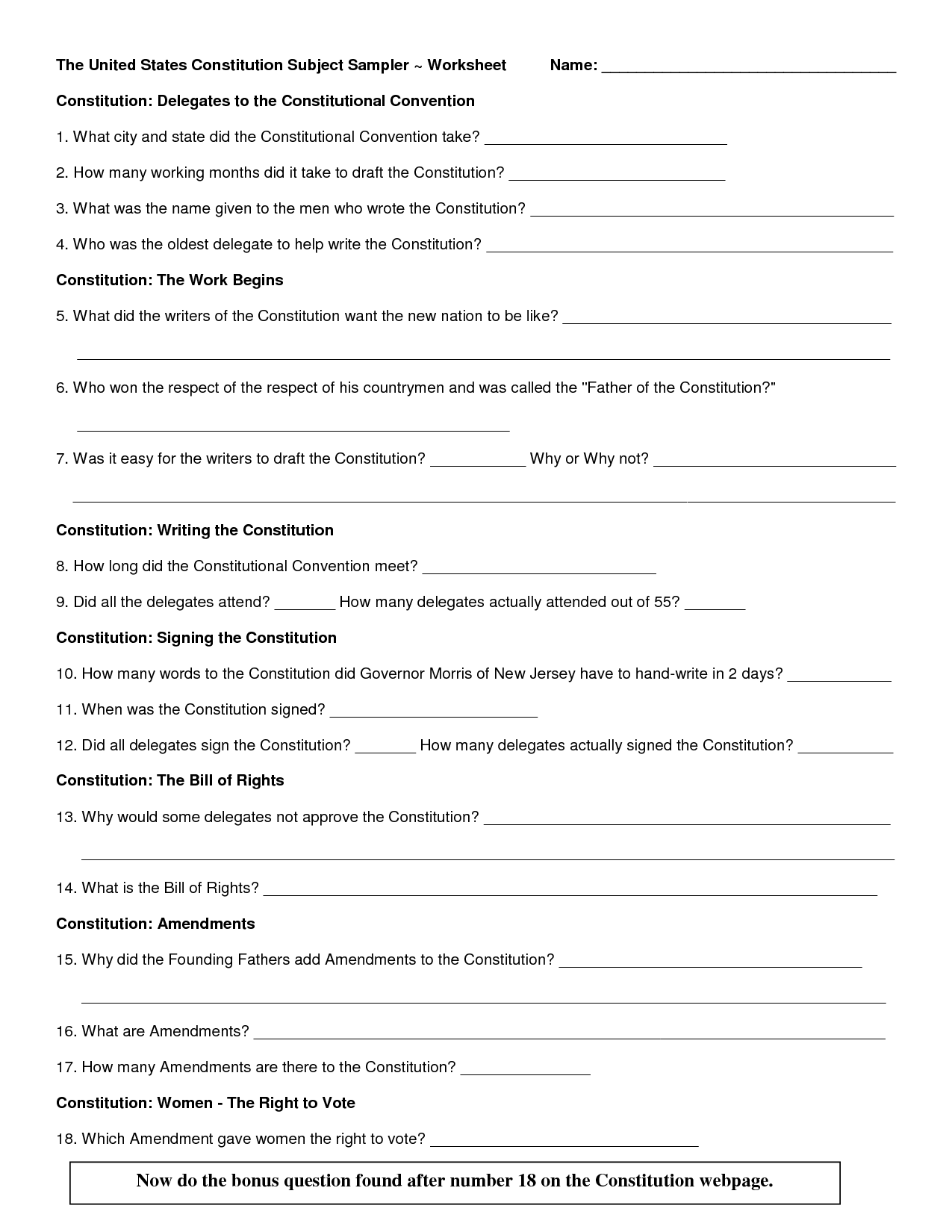 Preamble Of The Constitution Worksheet Preamble Worksheet