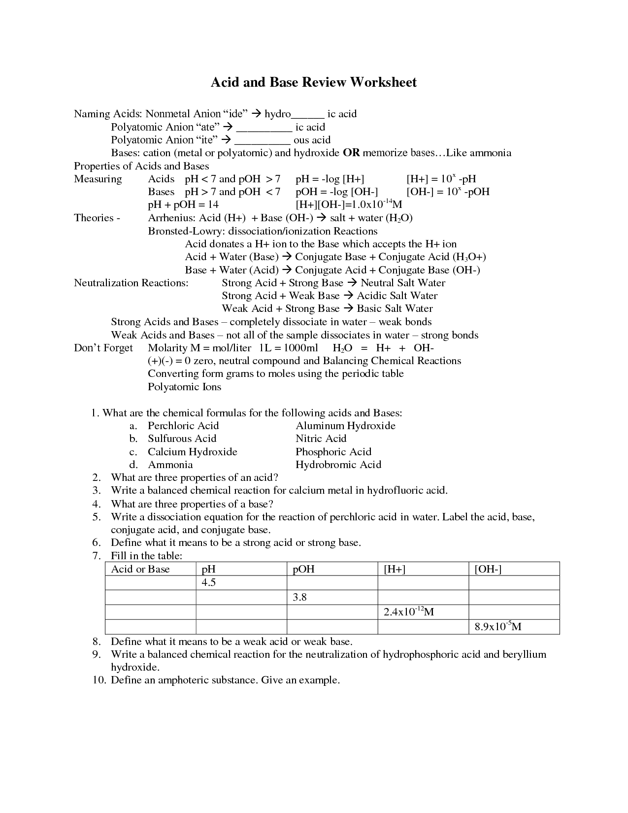 Acid And Base Worksheet Answers