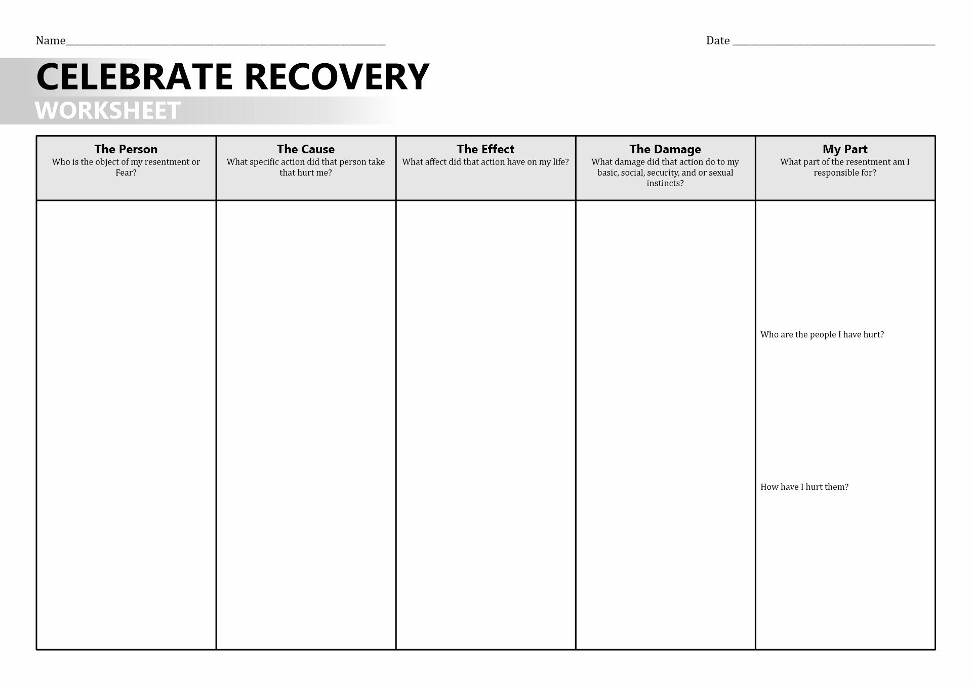 Relapse Stage Of Change Worksheet