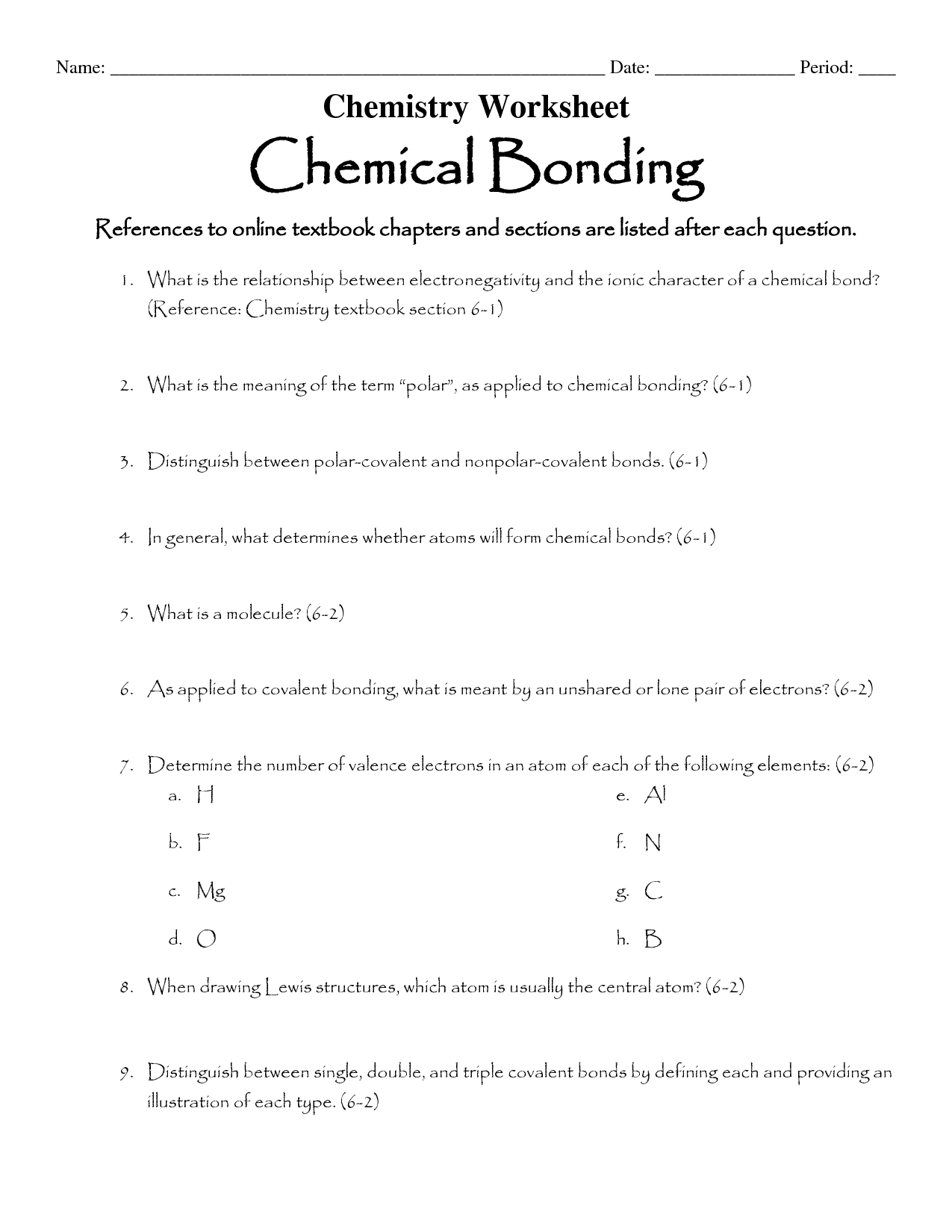 16 Best Images Of Types Of Chemical Bonds Worksheet