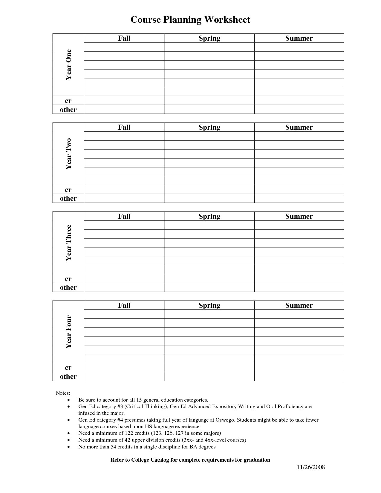11 Best Images Of Four Year Course Planning Worksheet