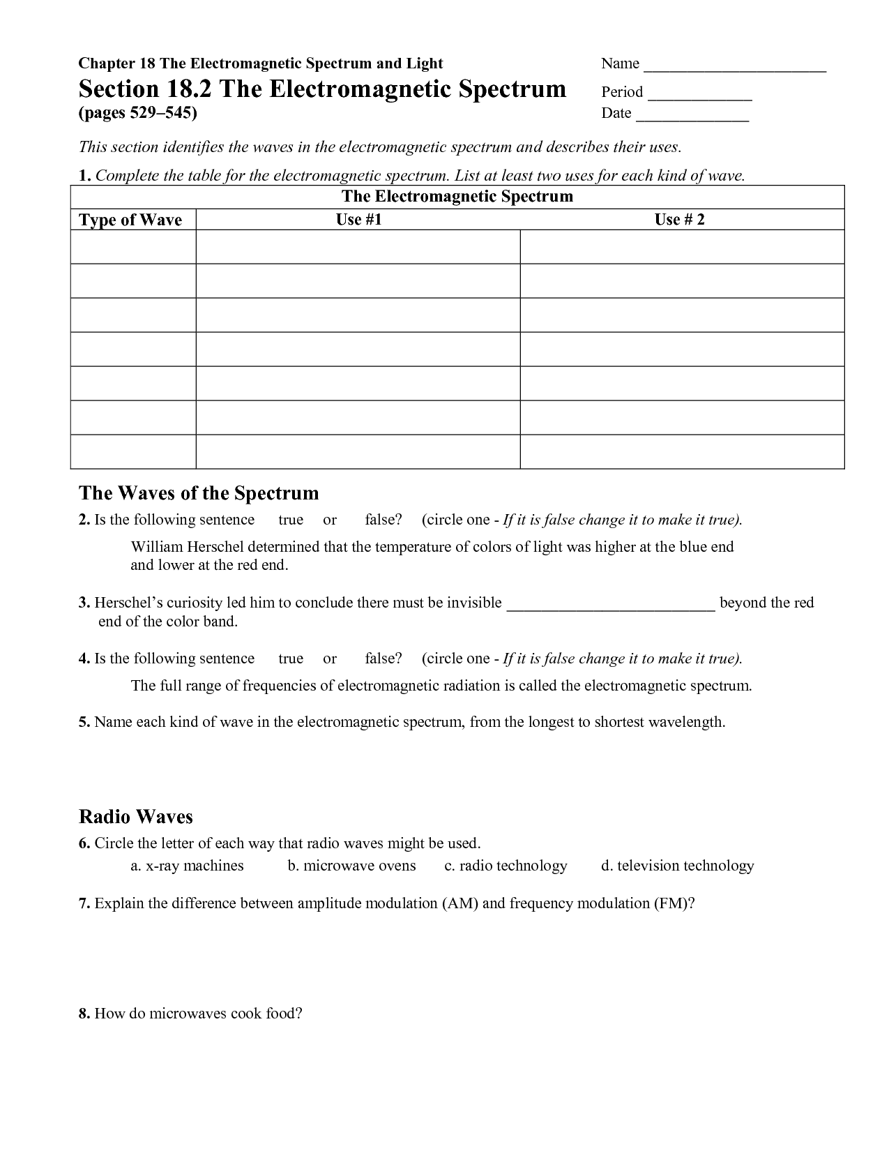 Waves And Electromagnetic Spectrum Worksheet Answers