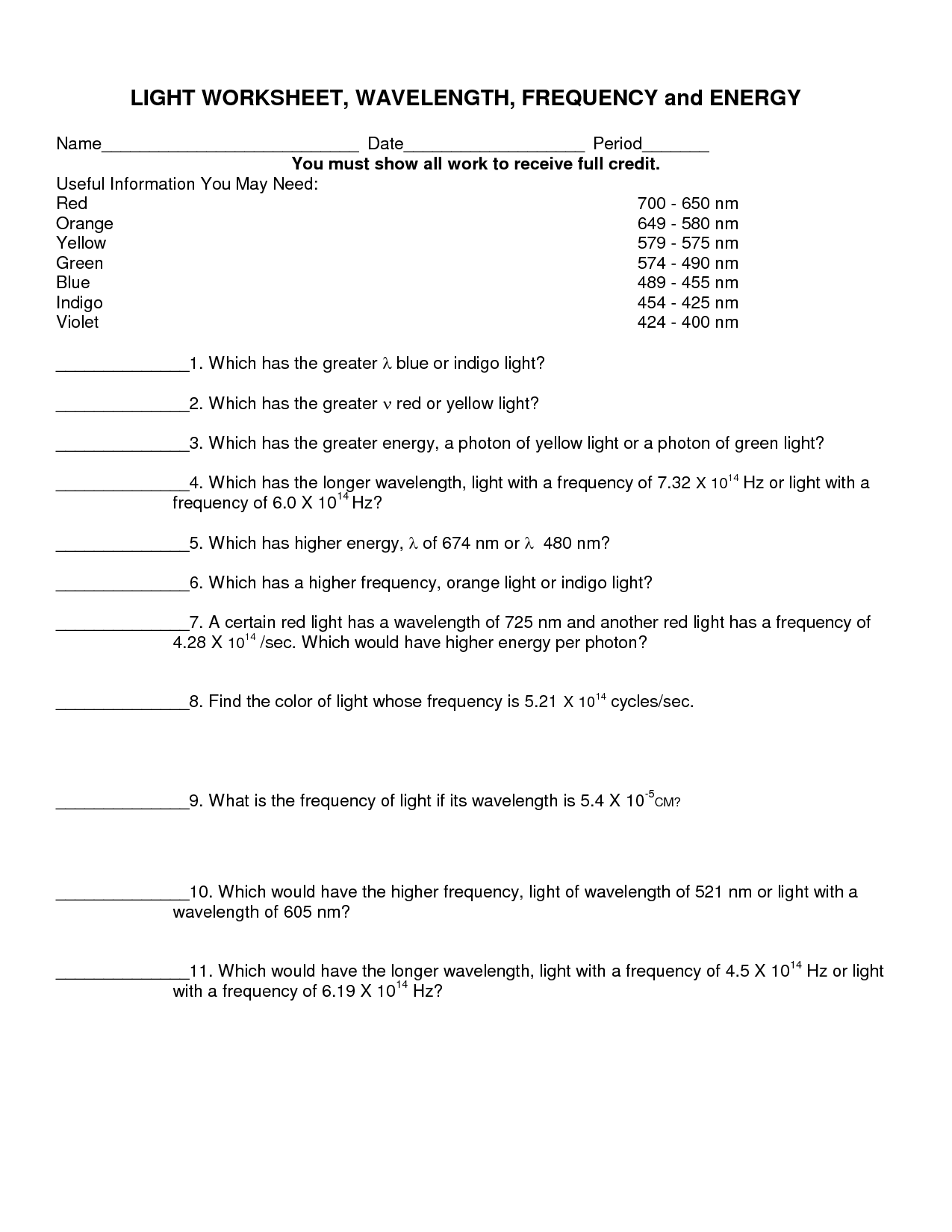 27 Chemistry Worksheet Wavelength Frequency And Energy