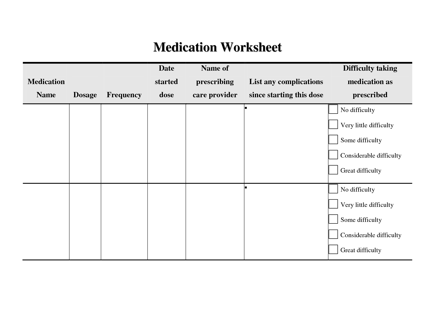 12 Best Images Of Medication Compliance Worksheet