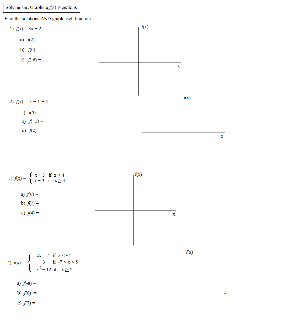 Worksheet Piecewise Functions Algebra 2 Key