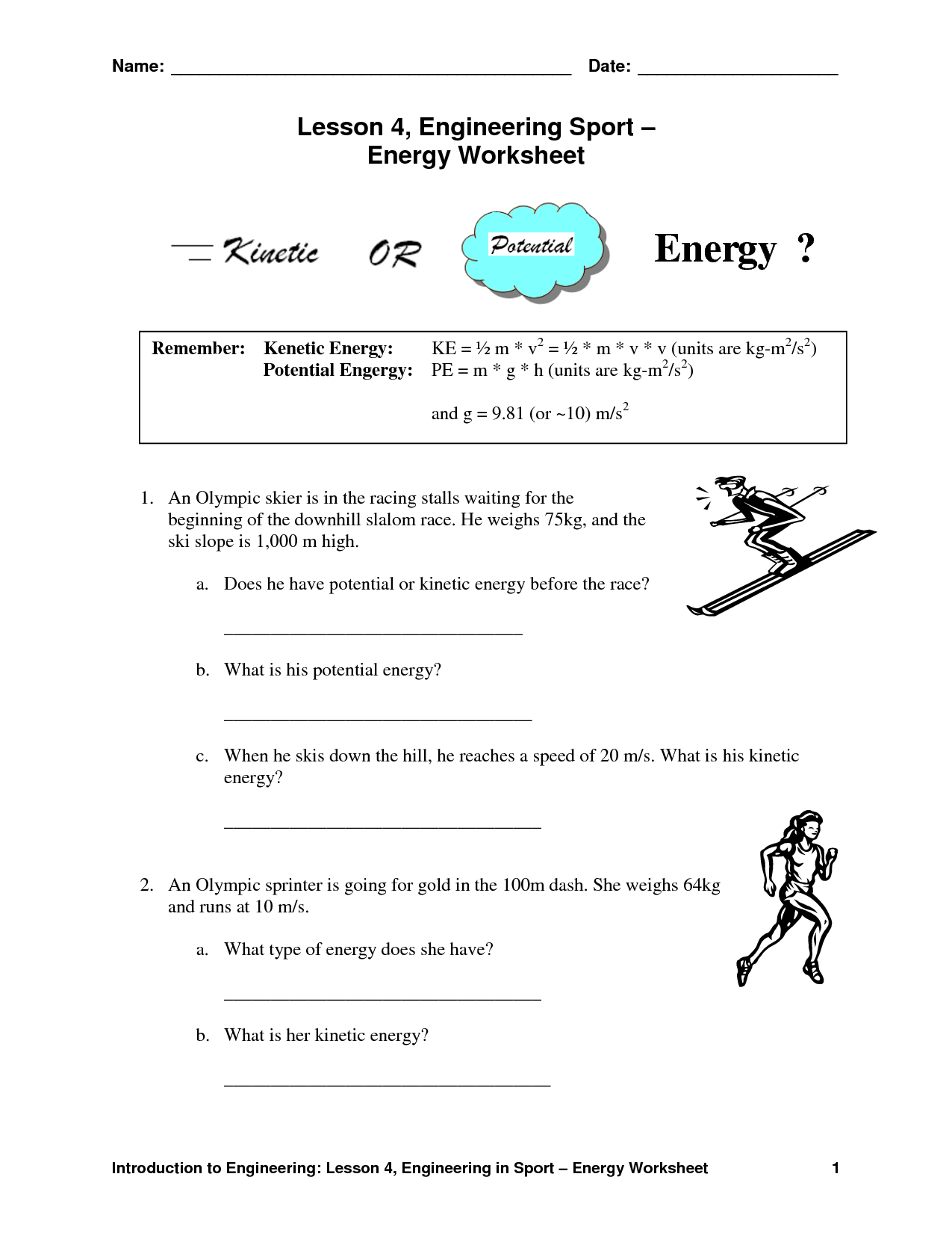 35 Potential And Kinetic Energy Worksheet