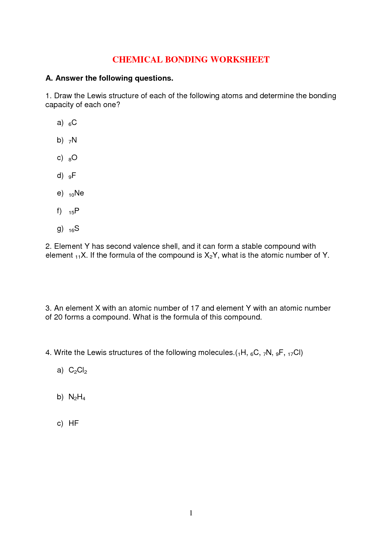14 Best Images Of Types Of Chemical Bonds Worksheet