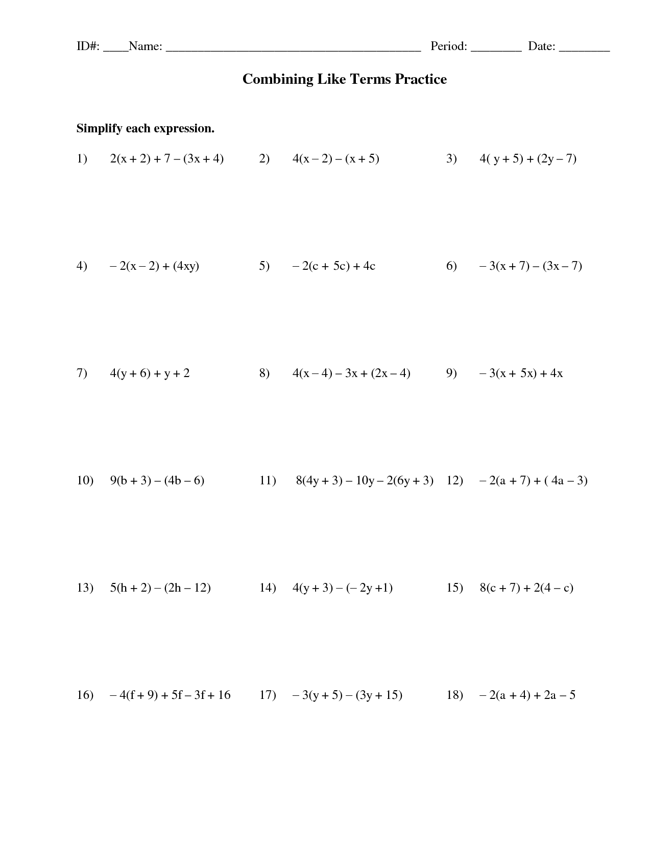 Algebra Combine Like Terms Worksheet