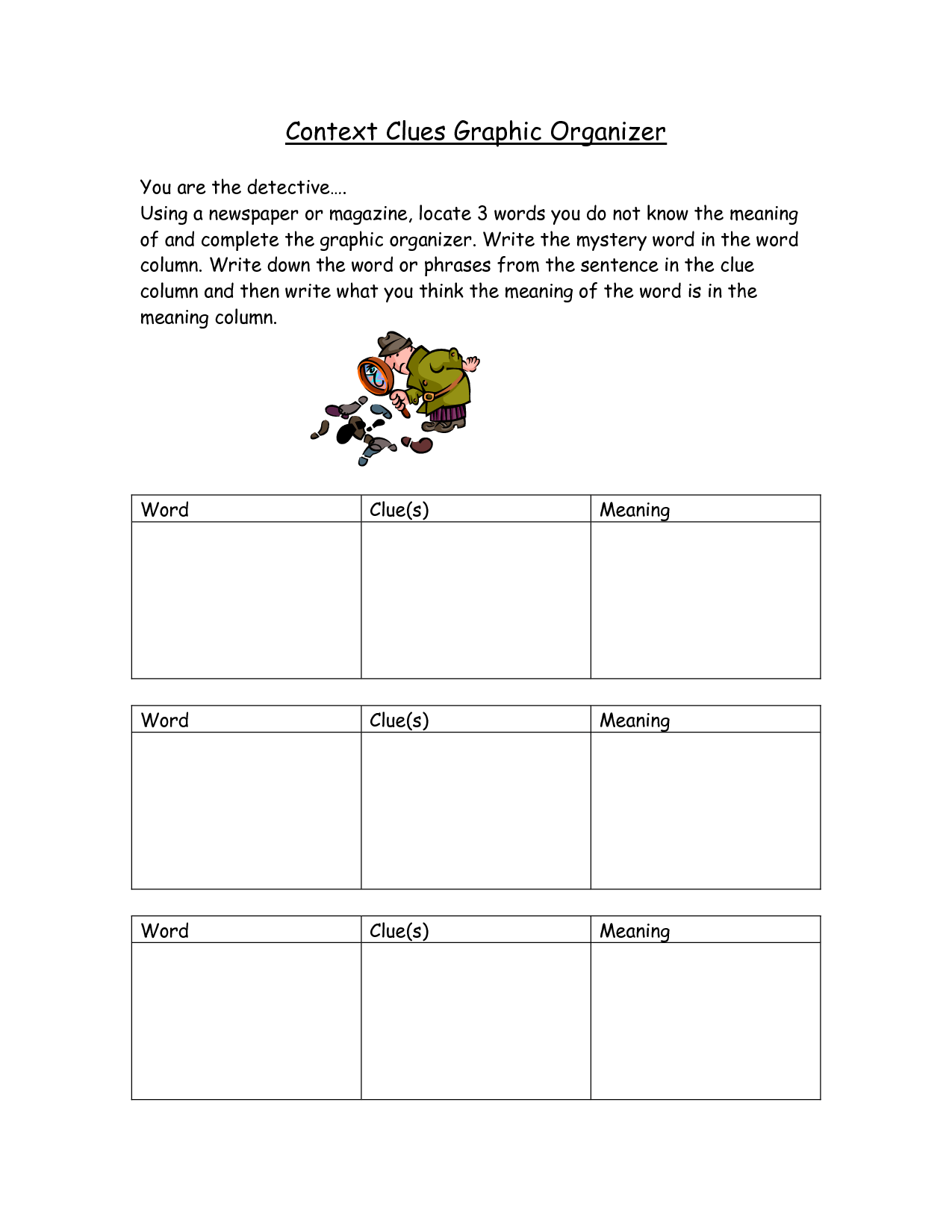 Worksheet Context Clues Grade 4