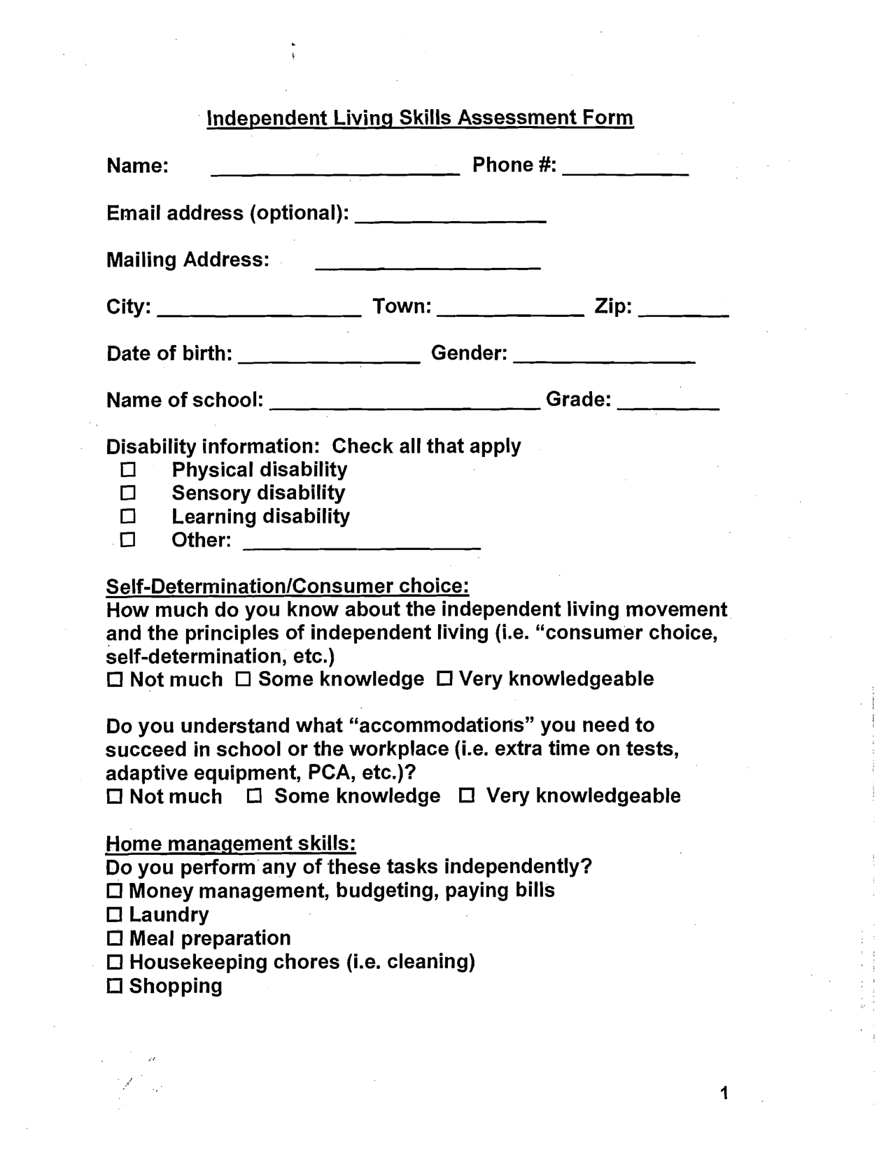 Community Living Worksheet