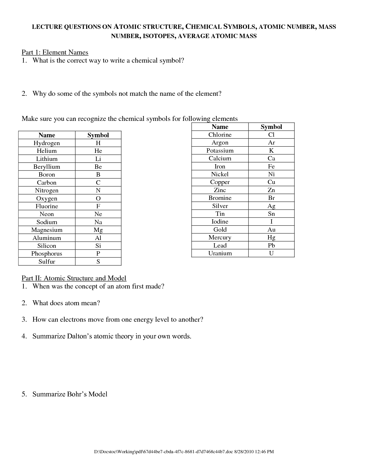 Lithium Isotope Worksheet With Answers