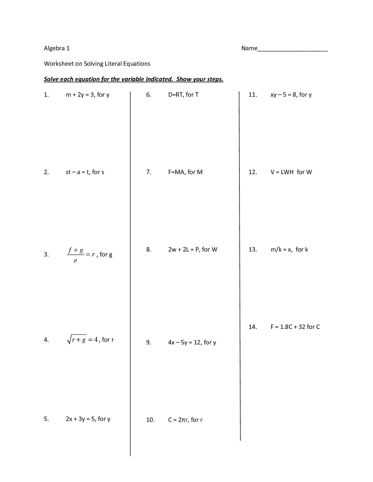 9 Best Images Of Literal Equations Algebra Worksheets