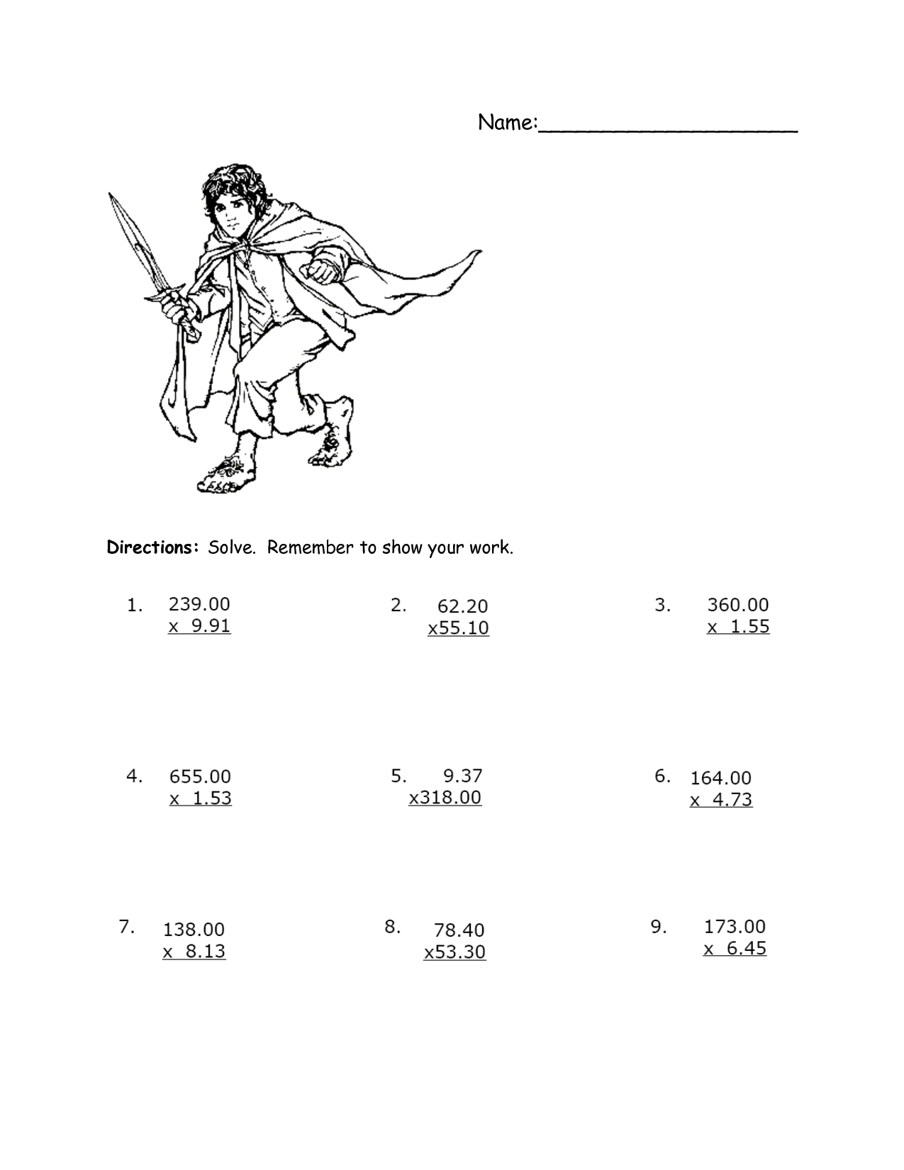 8 Best Images Of Multiplying Decimals Worksheet