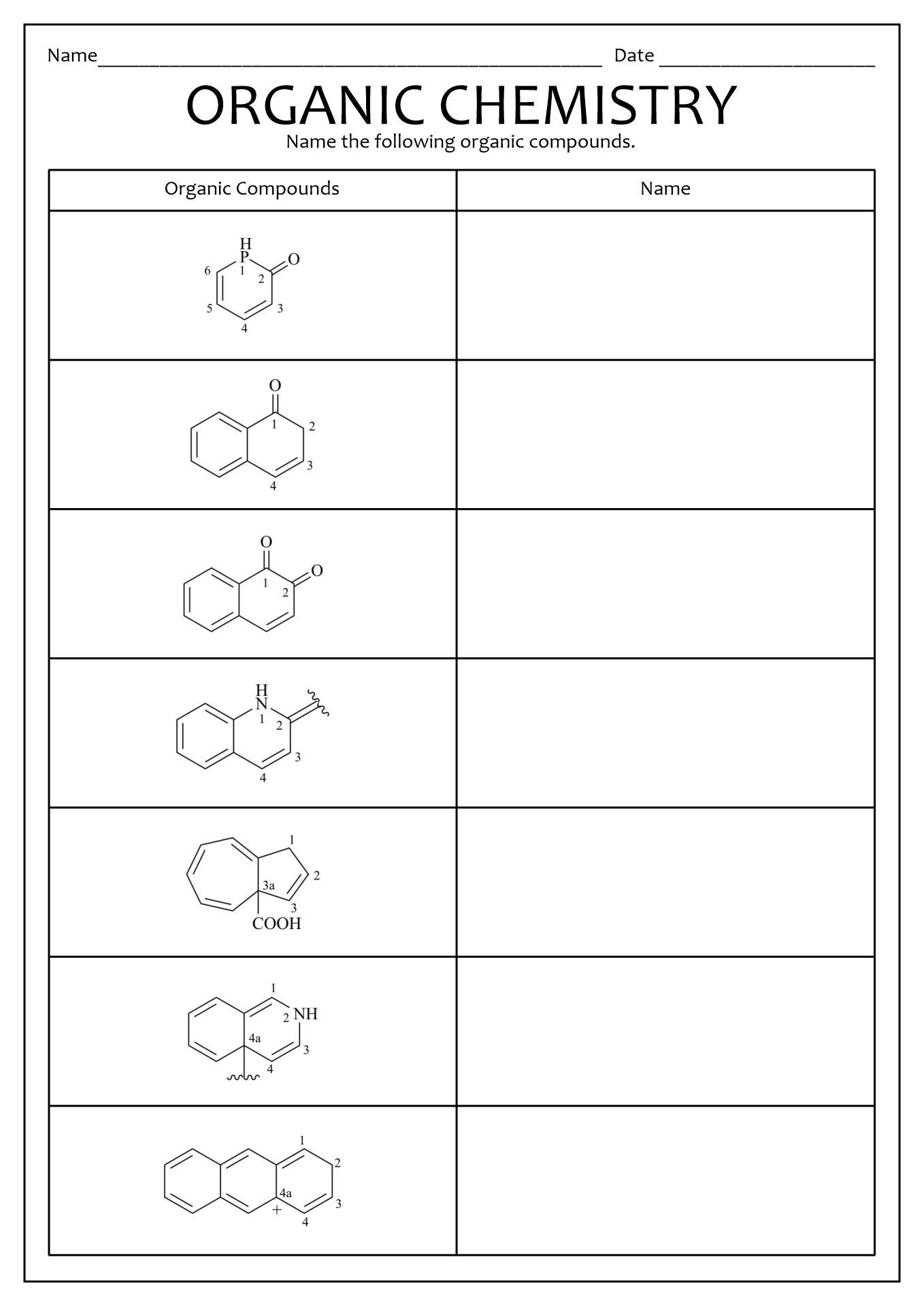 Alkanes Alkenes Alkynes Worksheet