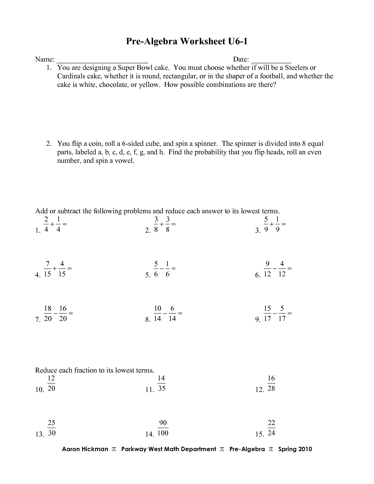 Advanced Algebra Math Worksheet