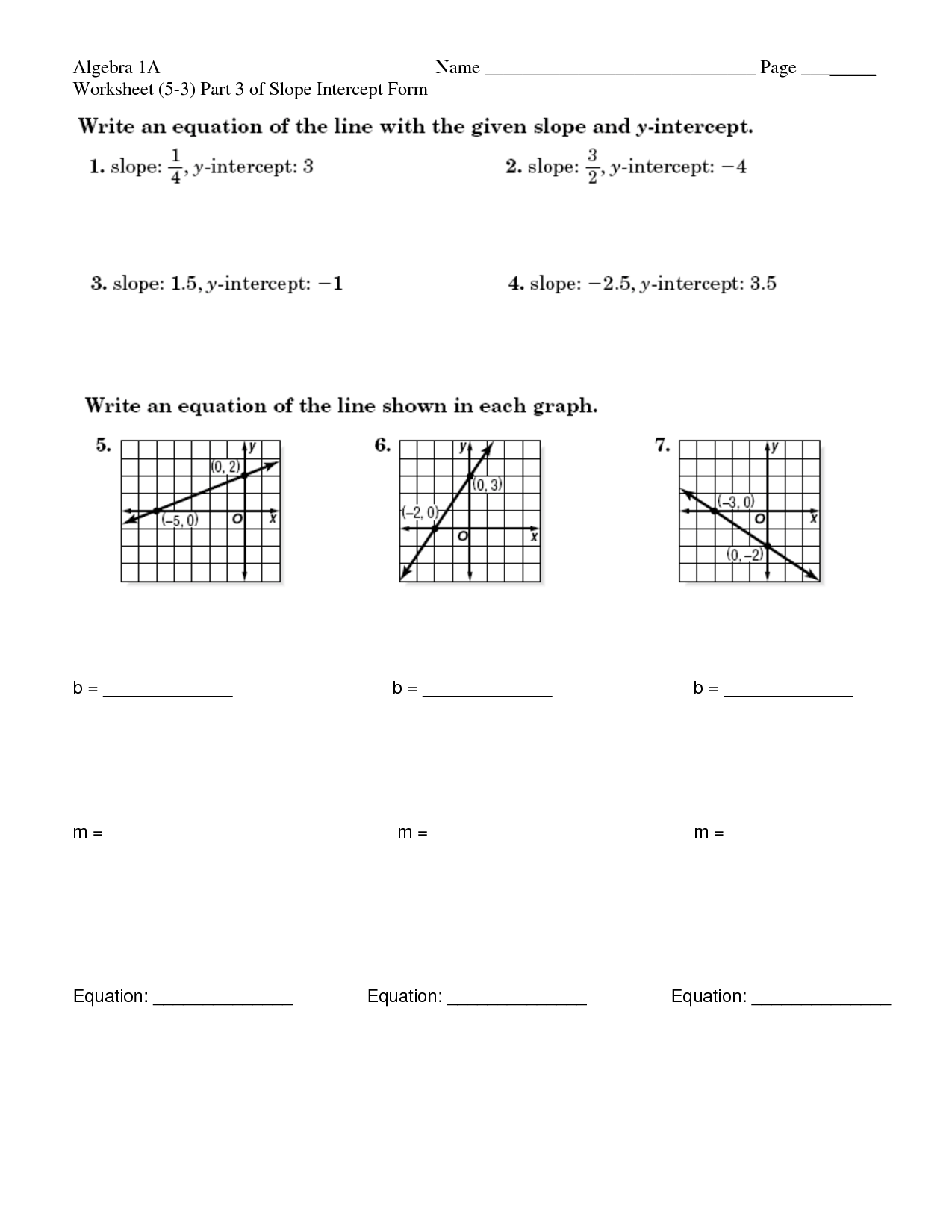 Basic Slope Intercept Worksheet