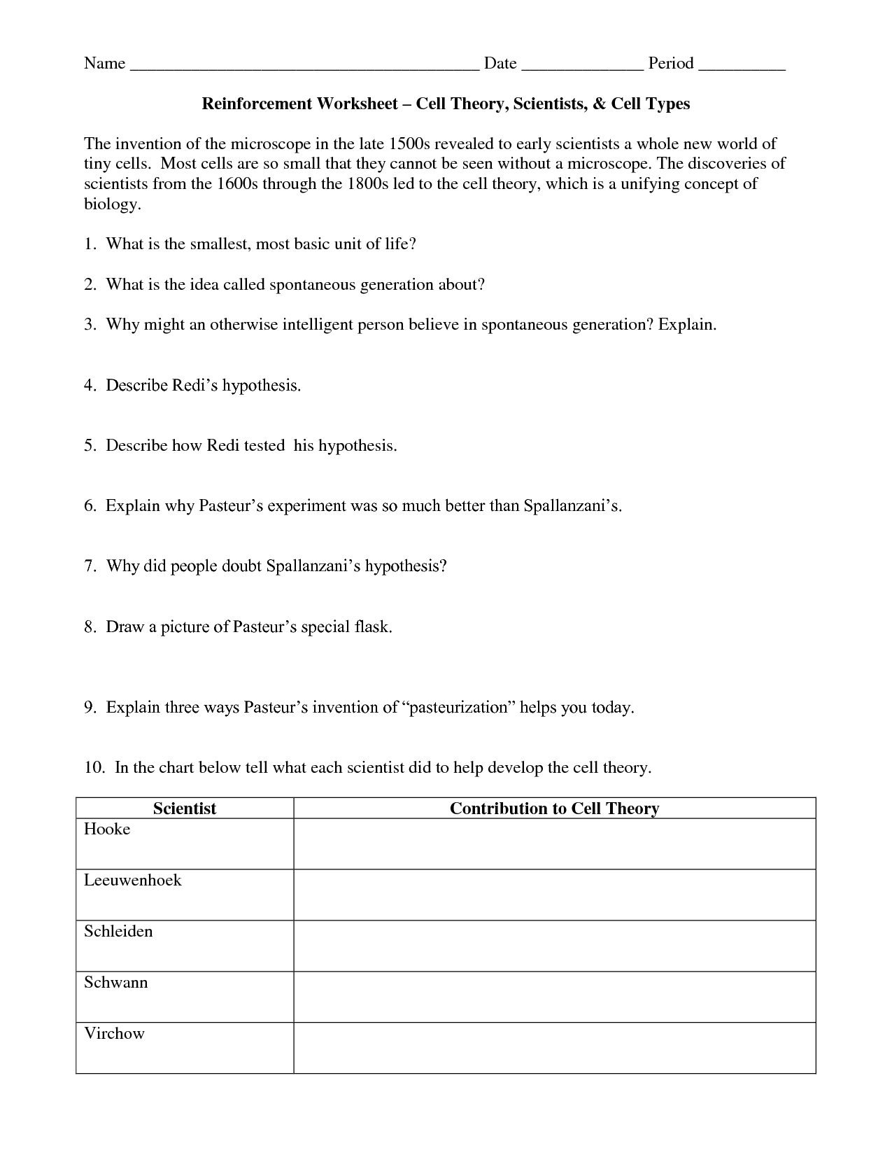 15 Best Images Of Cell Theory Worksheet Answers