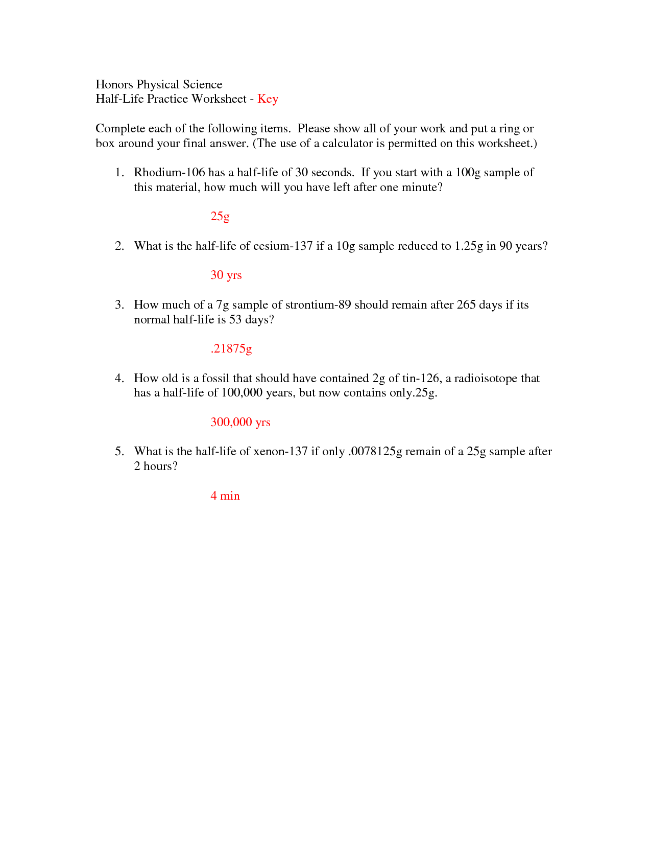 Half Life Math Problems Worksheet